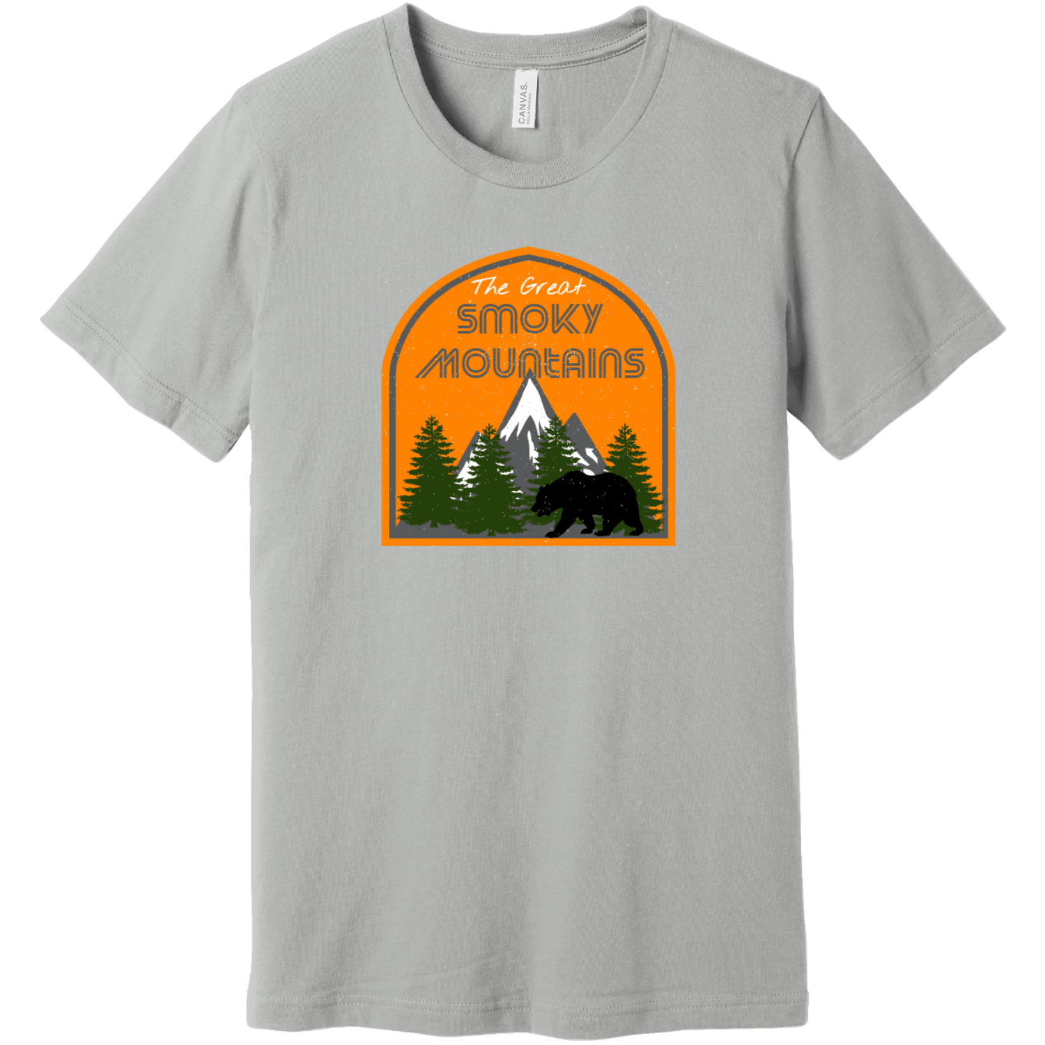 The Great Smoky Mountains T-Shirt Silver Bella Canvas Unisex Tee BC3001