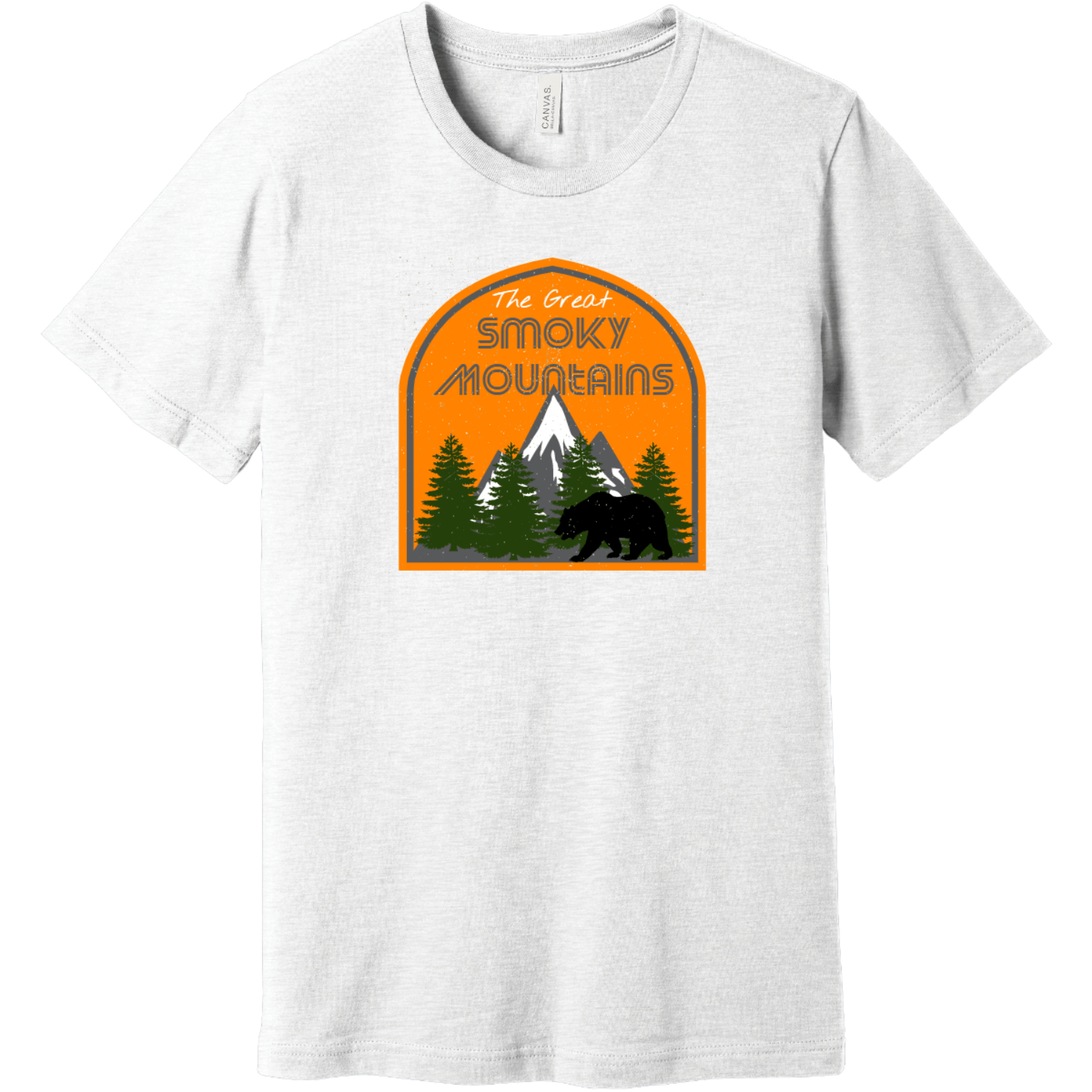 The Great Smoky Mountains T-Shirt White Bella Canvas Unisex Tee BC3001
