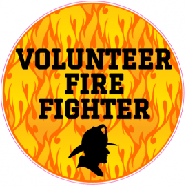Volunteer Fire Fighter Circle Sticker | U.S. Custom Stickers