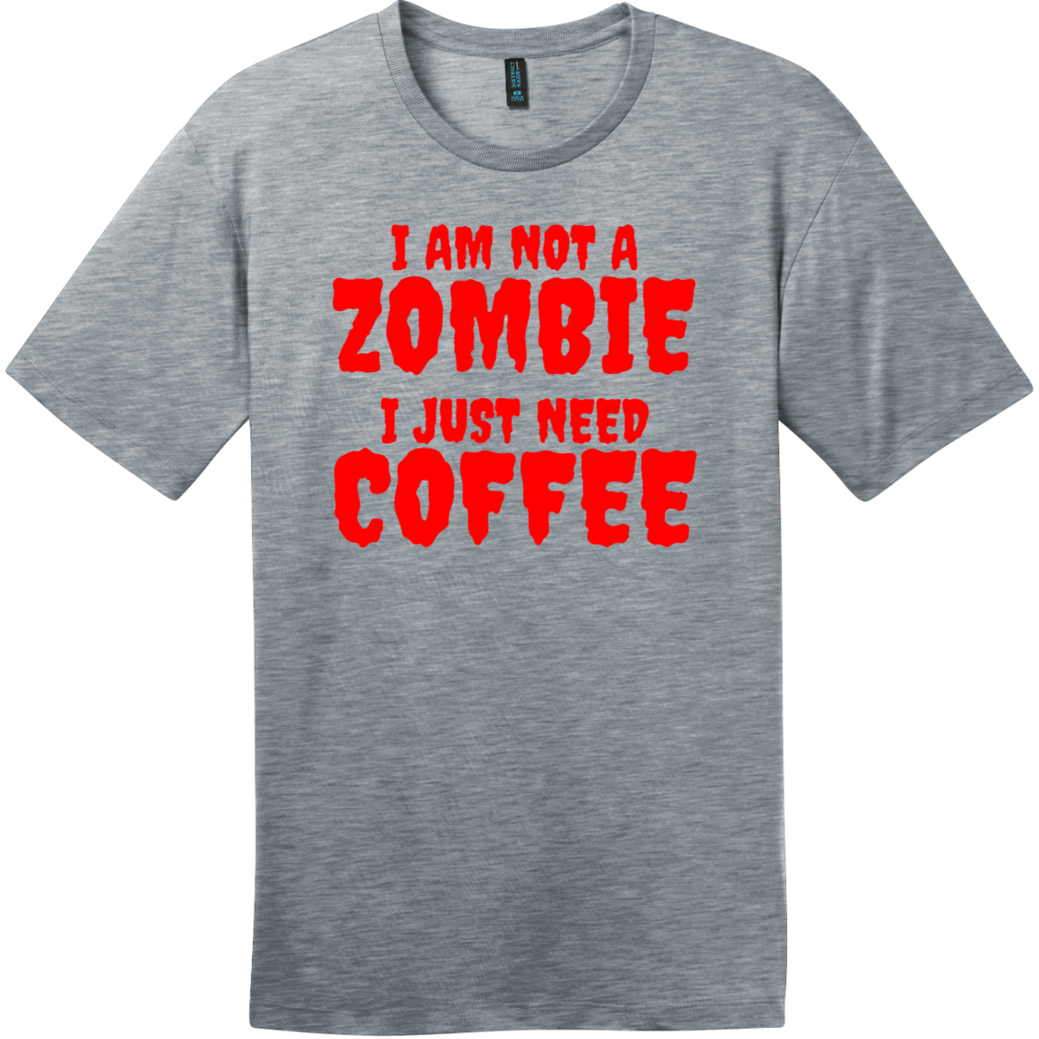 Zombie Coffee T-Shirt Heathered Steel District Perfect Weight Tee DT104