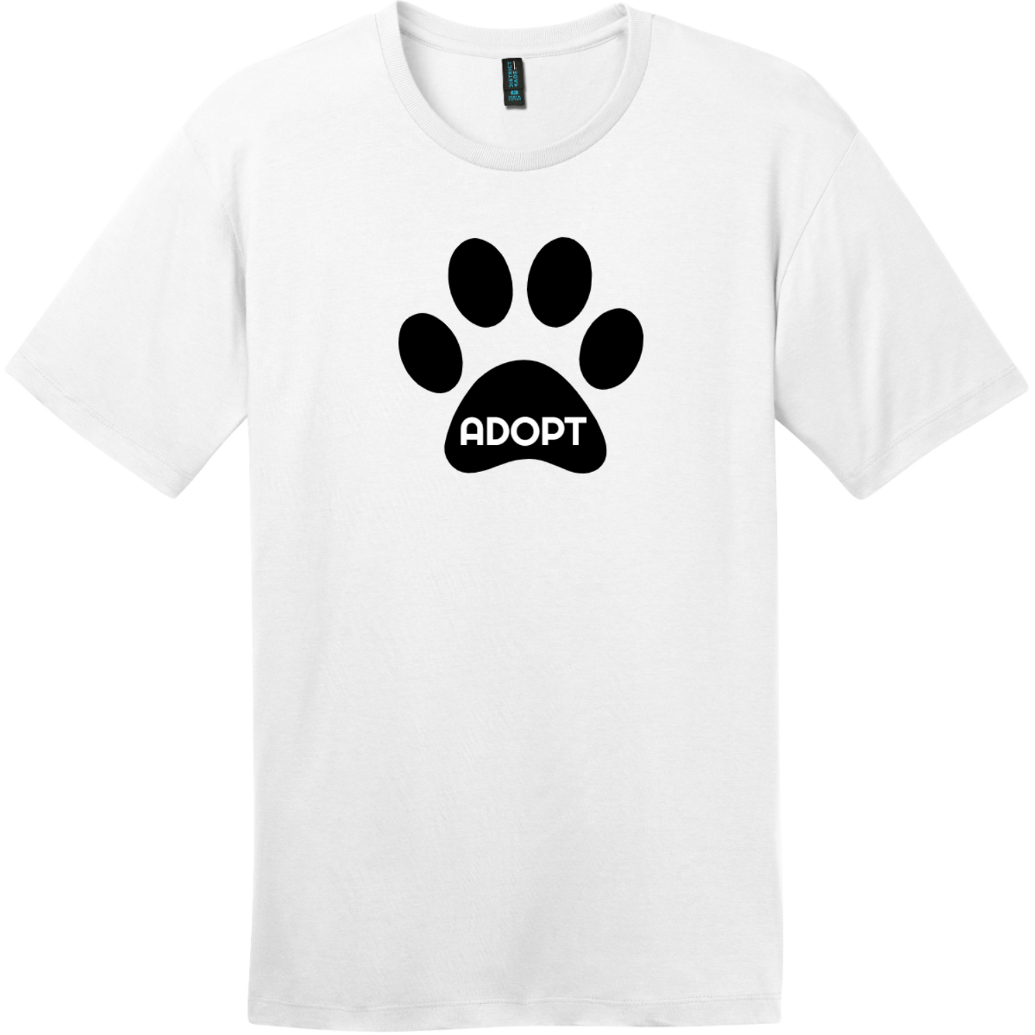 Adopt Pet Paw T-Shirt Bright White District Perfect Weight Tee DT104