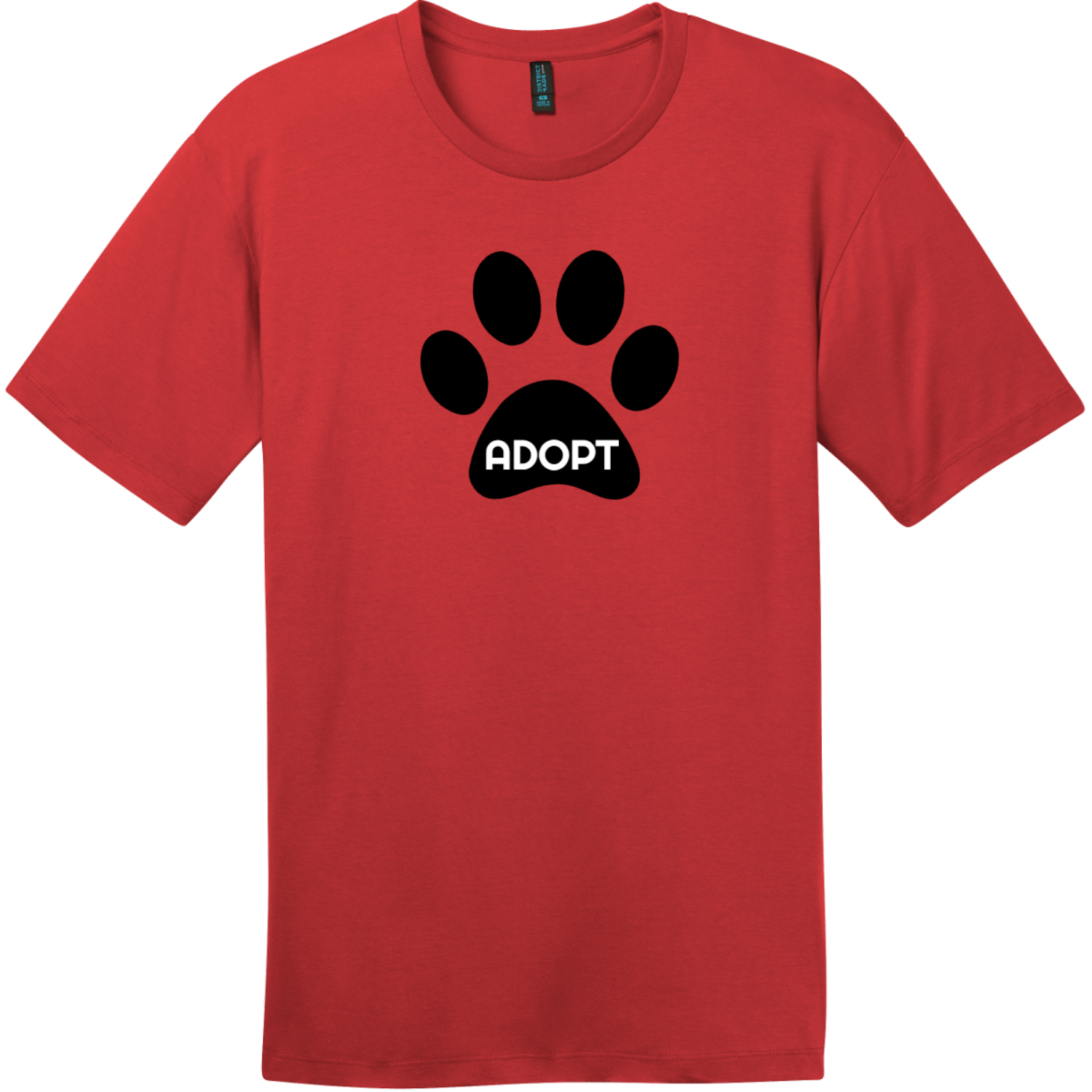 Adopt Pet Paw T-Shirt Classic Red District Perfect Weight Tee DT104