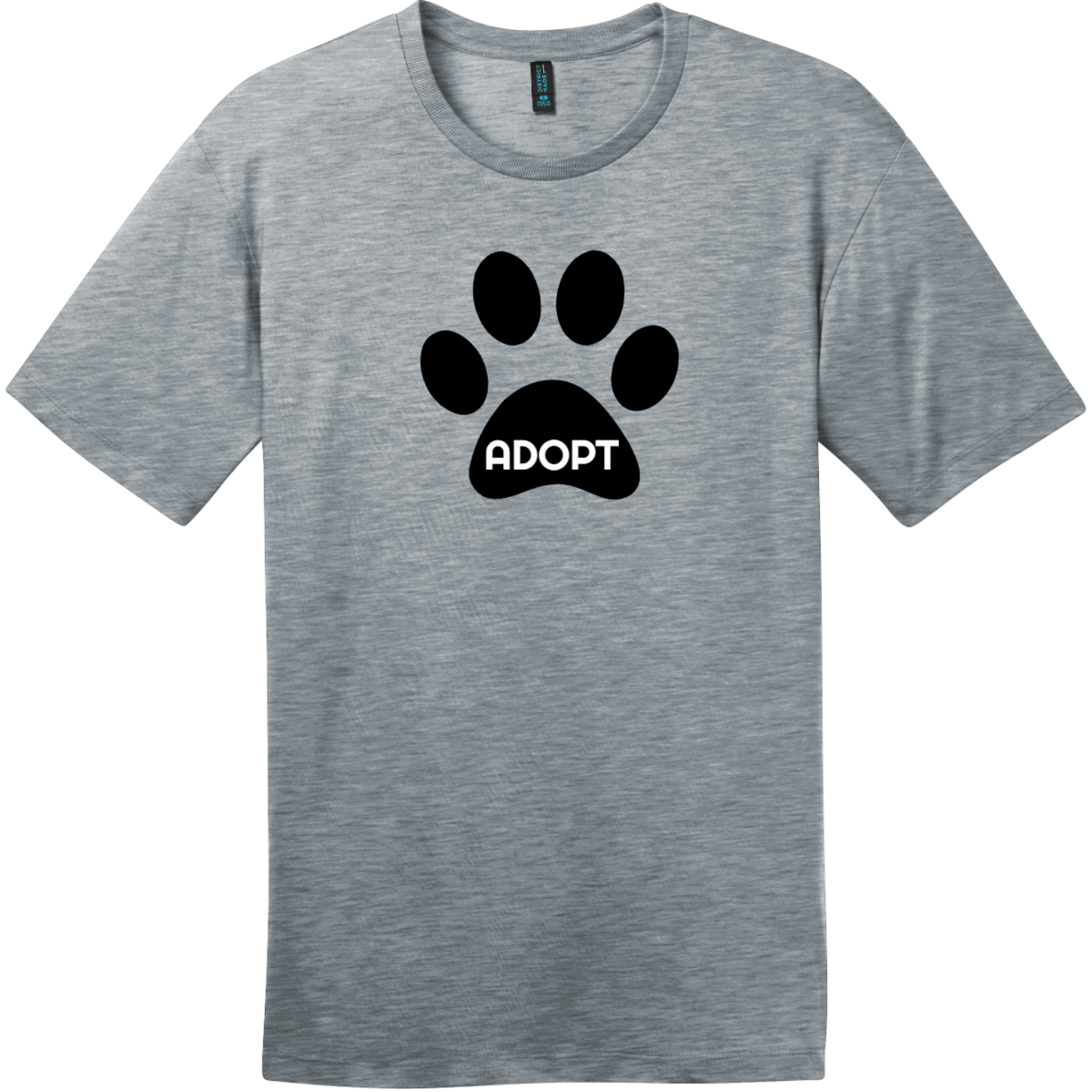 Adopt Pet Paw T-Shirt Heathered Steel District Perfect Weight Tee DT104