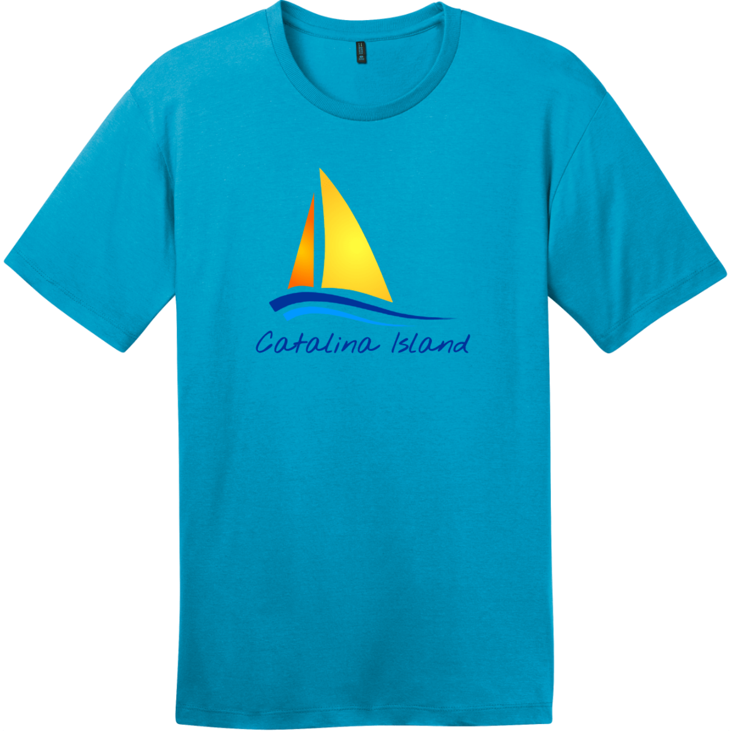Catalina Island Sailboat T-Shirt Bright Turquoise District Perfect Weight Tee DT104