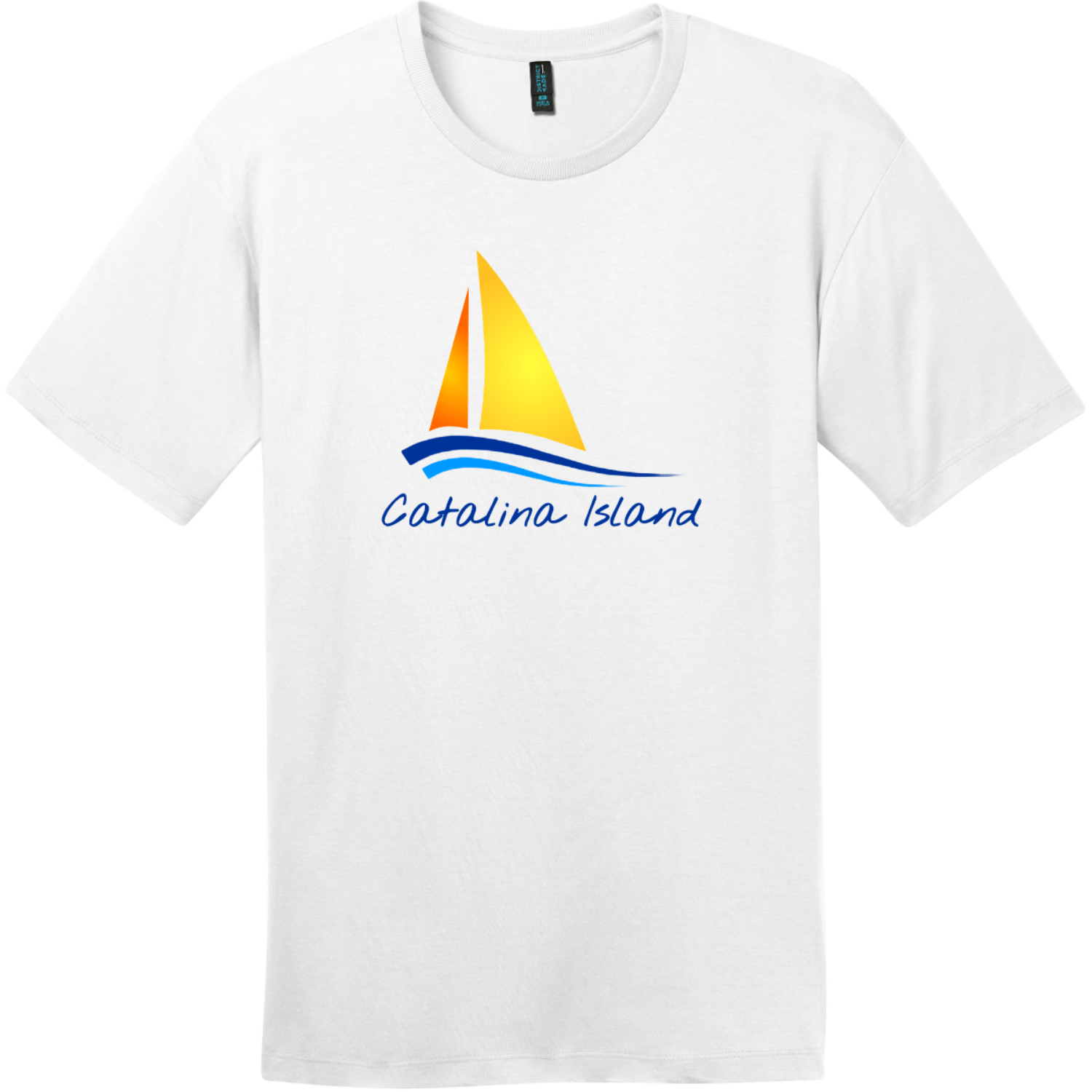 Catalina Island Sailboat T-Shirt Bright White District Perfect Weight Tee DT104