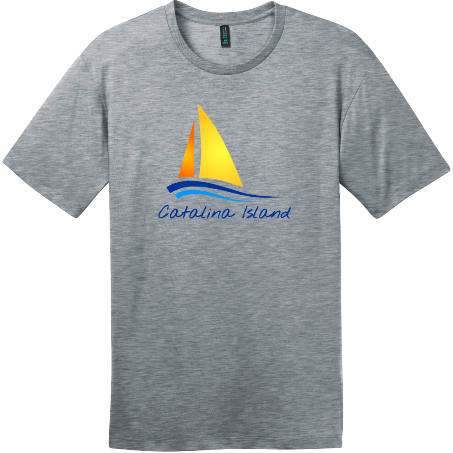 Catalina Island Sailboat T-Shirt Heathered Steel District Perfect Weight Tee DT104