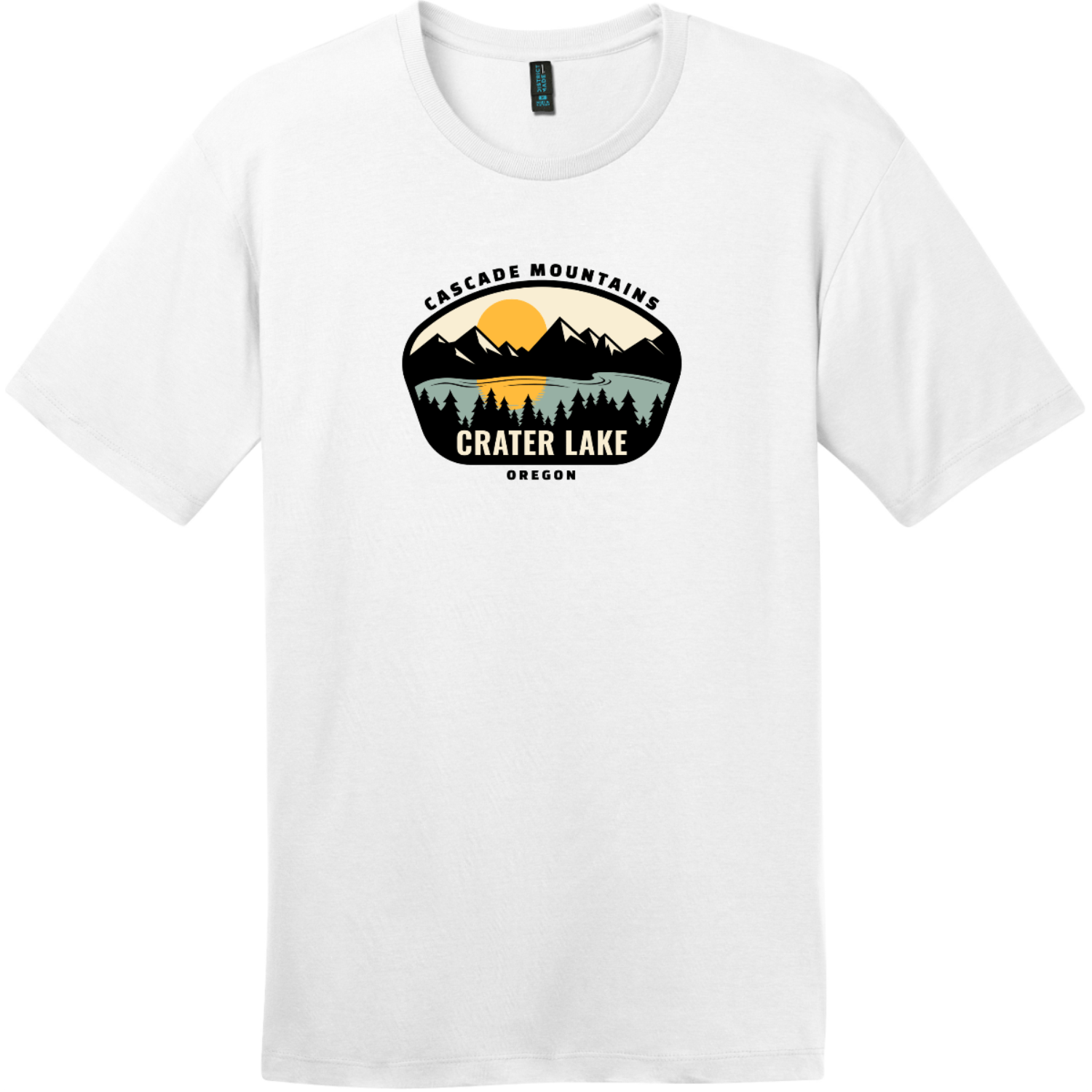 Crater Lake Oregon T-Shirt Bright White District Perfect Weight Tee DT104