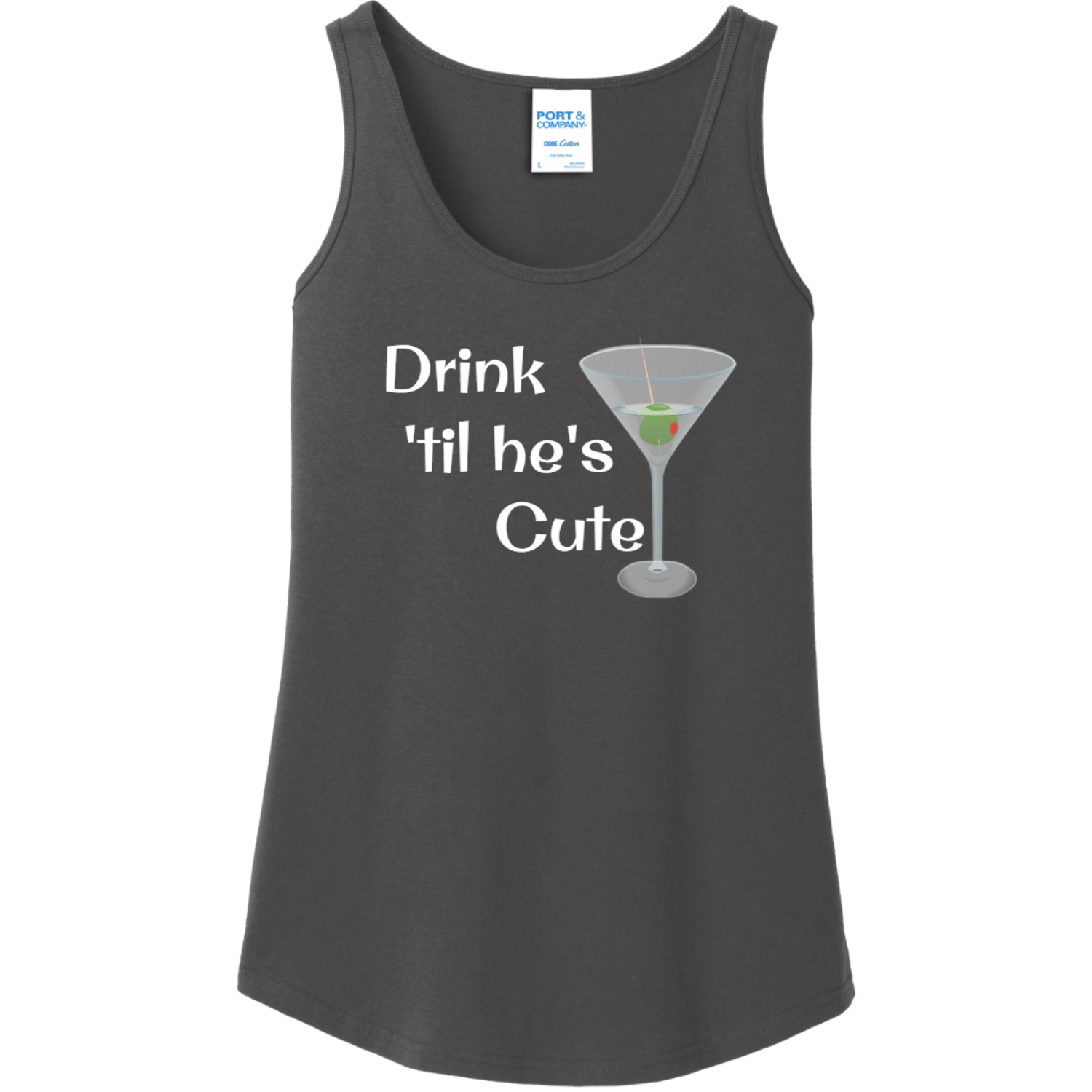 Drink 'Til He's Cute Tank Top for Women Charcoal Port And Company Ladies Tank Top LPC54TT