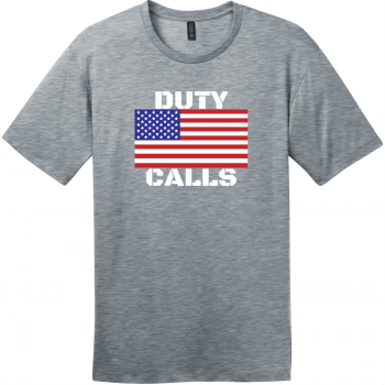 Duty Calls American Flag T-Shirt Heathered Steel District Perfect Weight Tee DT104