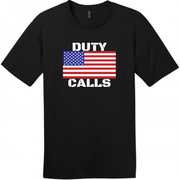 Duty Calls American Flag T-Shirt Jet Black District Perfect Weight Tee DT104