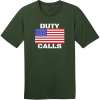 Duty Calls American Flag T-Shirt Thyme Green District Perfect Weight Tee DT104