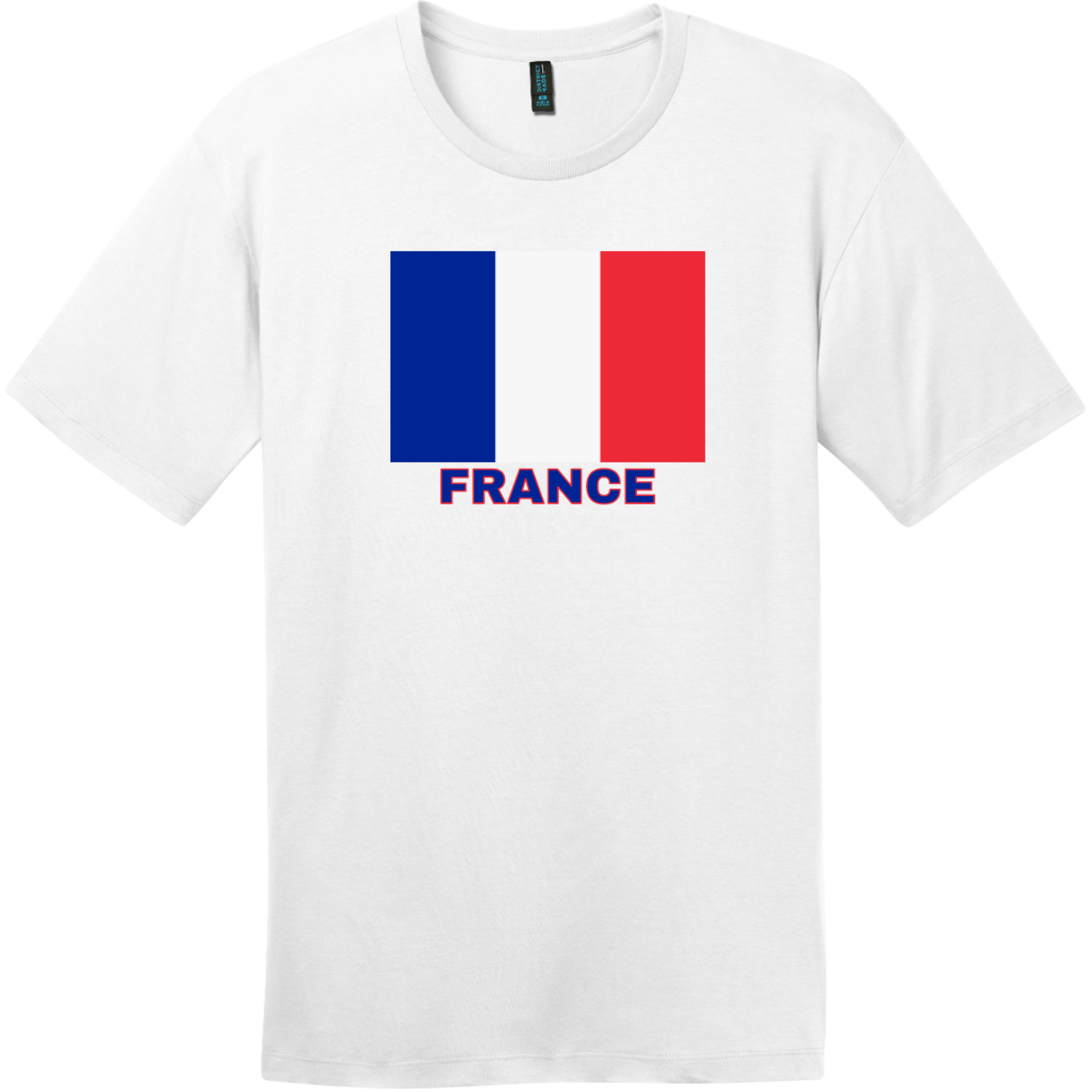 France Flag T-Shirt Bright White District Perfect Weight Tee DT104