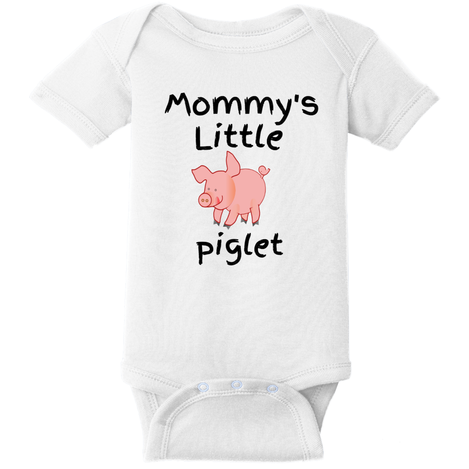 Mommy's Little Piglet Baby Bodysuit White Rabbit Skins Infant Short Sleeve Infant Rib Bodysuit RS4400