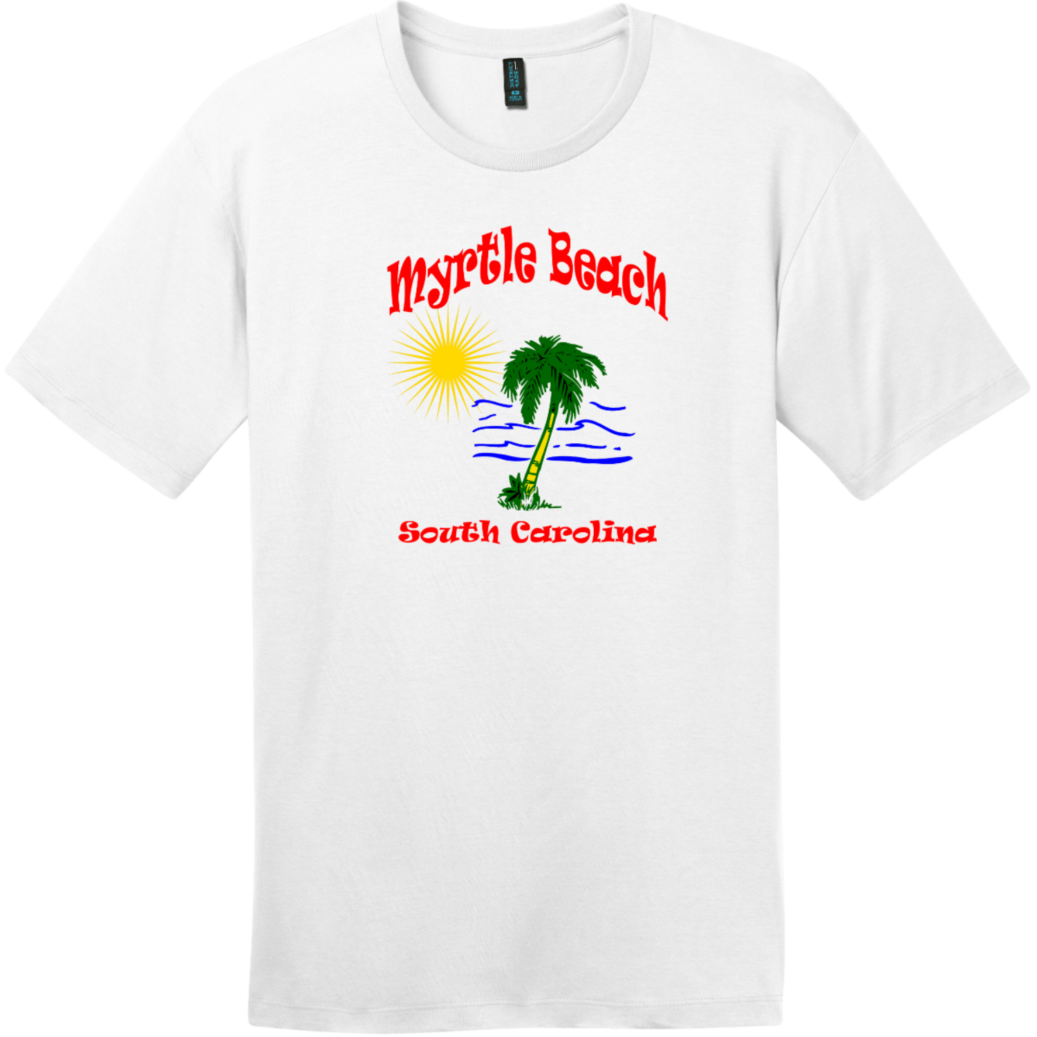 Myrtle Beach Palm Tree Water T-Shirt Bright White District Perfect Weight Tee DT104