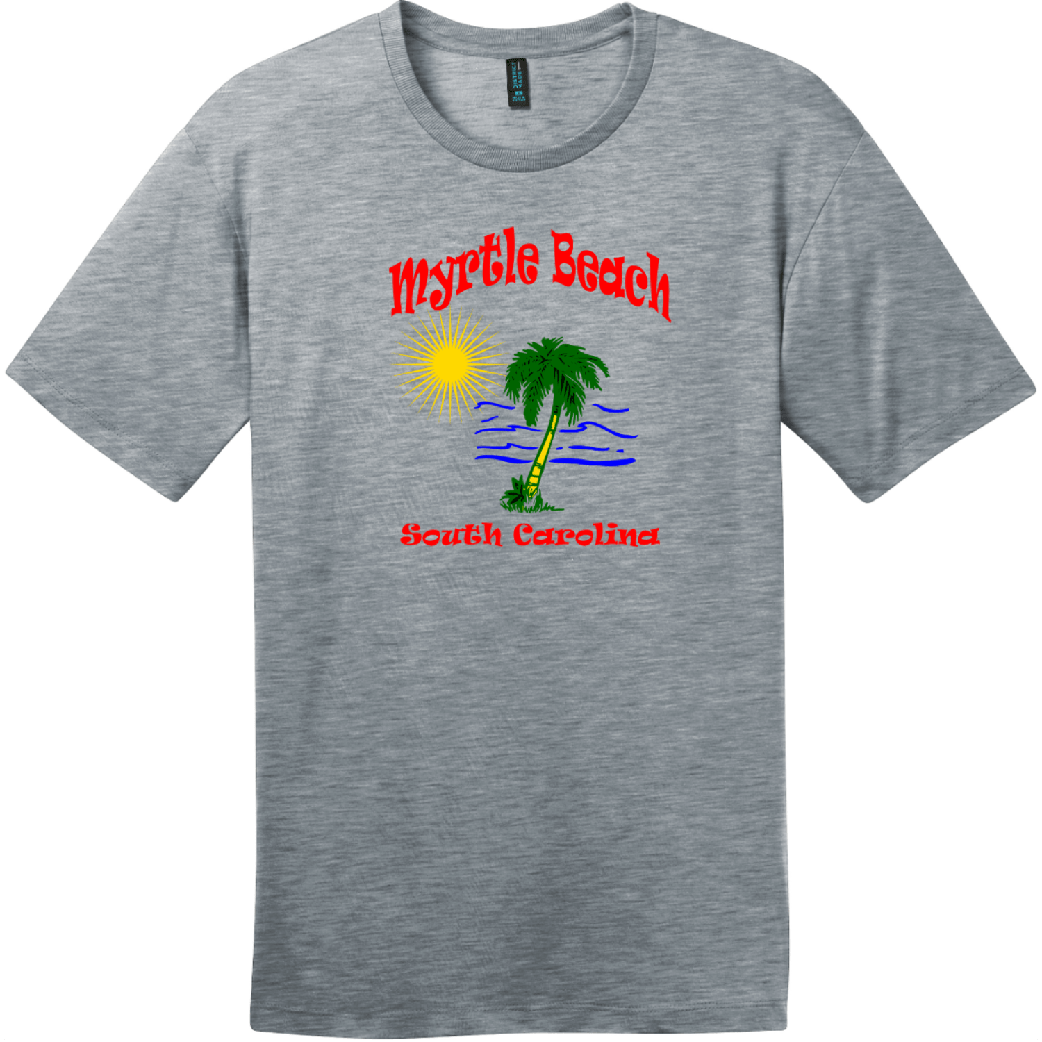 Myrtle Beach Palm Tree Water T-Shirt Heathered Steel District Perfect Weight Tee DT104