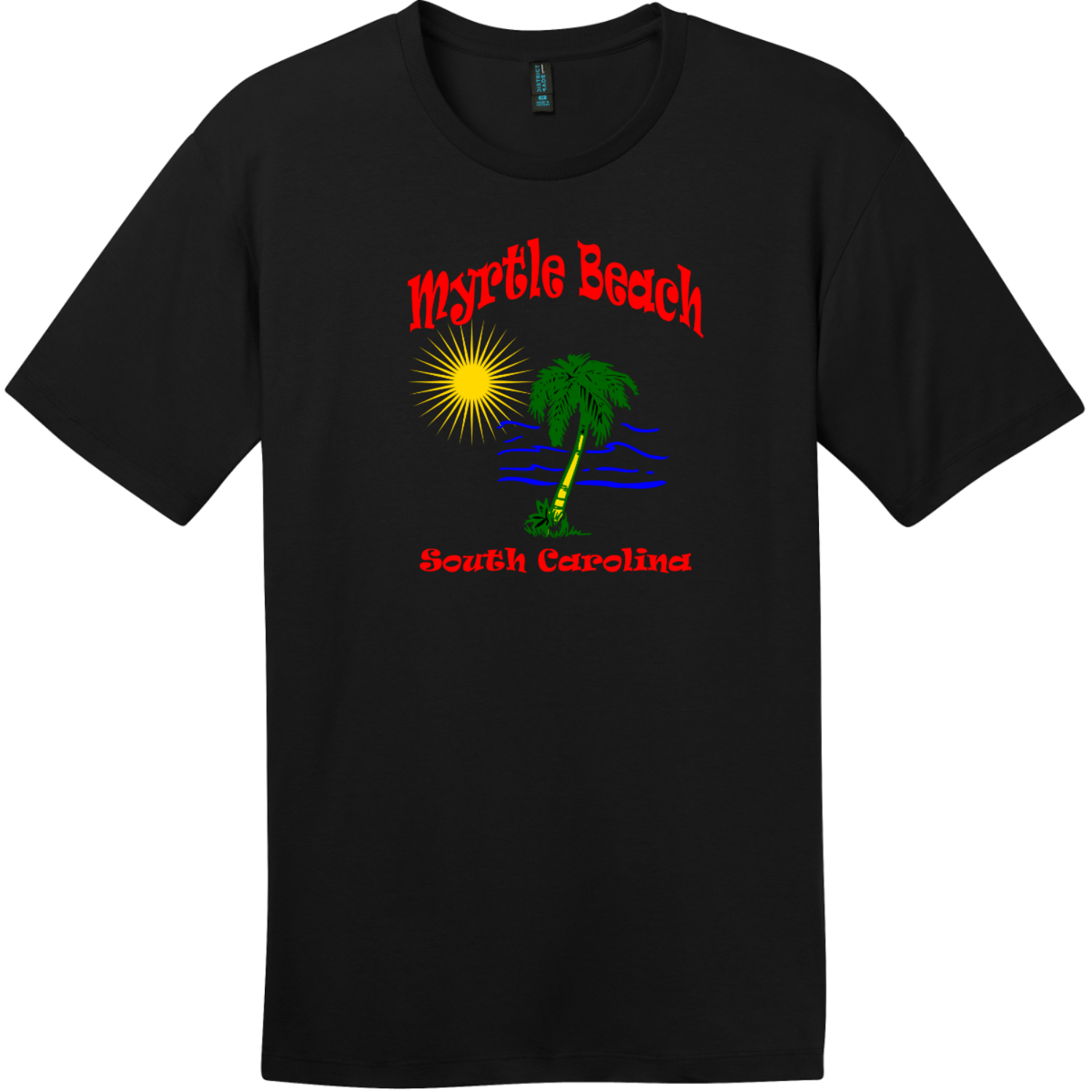 Myrtle Beach Palm Tree Water T-Shirt Jet Black District Perfect Weight Tee DT104