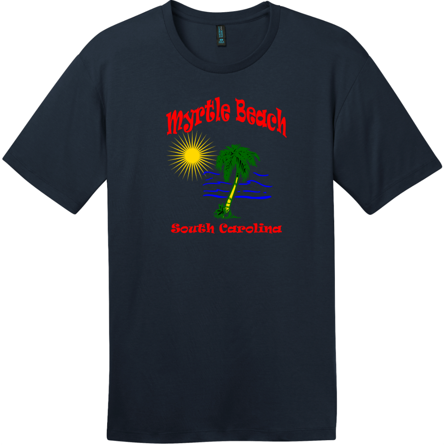 Myrtle Beach Palm Tree Water T-Shirt New Navy District Perfect Weight Tee DT104