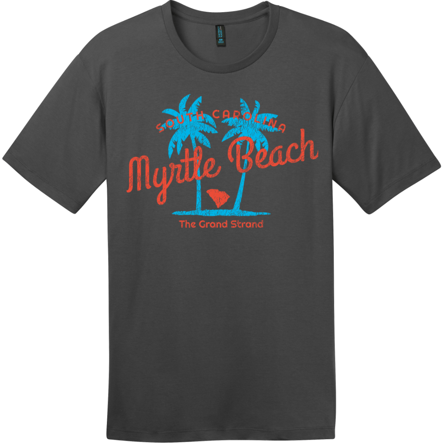 Myrtle Beach The Grand Strand T-Shirt Charcoal District Perfect Weight Tee DT104