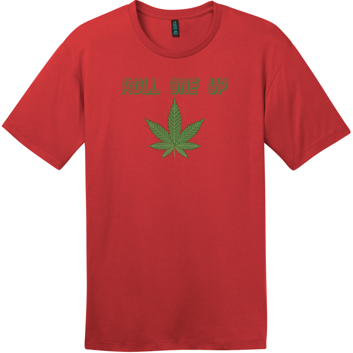 Roll One Up Weed T-Shirt Classic Red District Perfect Weight Tee DT104