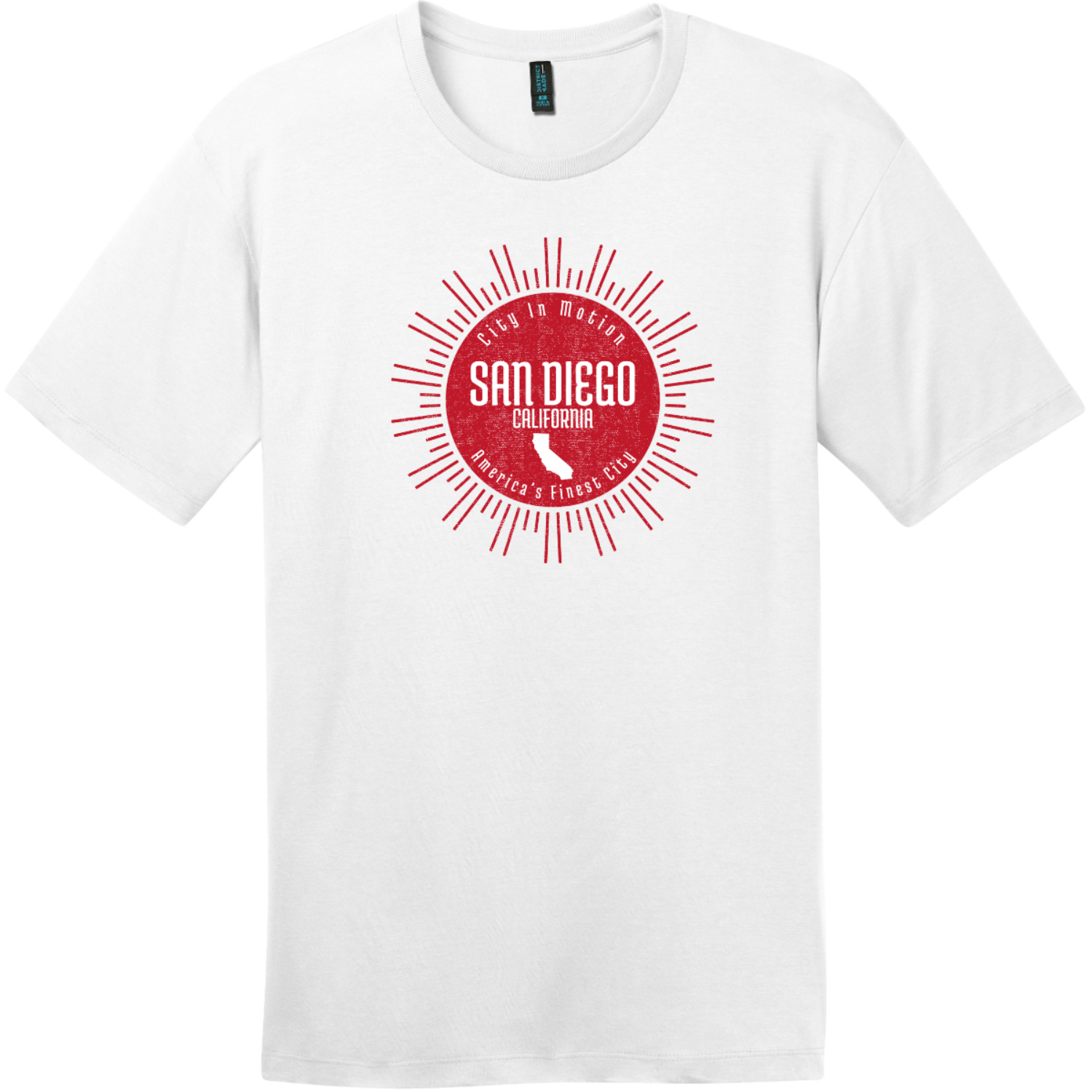 San Diego America's Finest City Sunshine T-Shirt Bright White District Perfect Weight Tee DT104