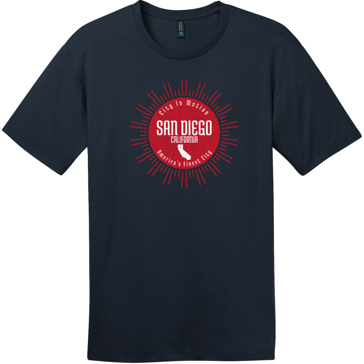 San Diego America's Finest City Sunshine T-Shirt New Navy District Perfect Weight Tee DT104