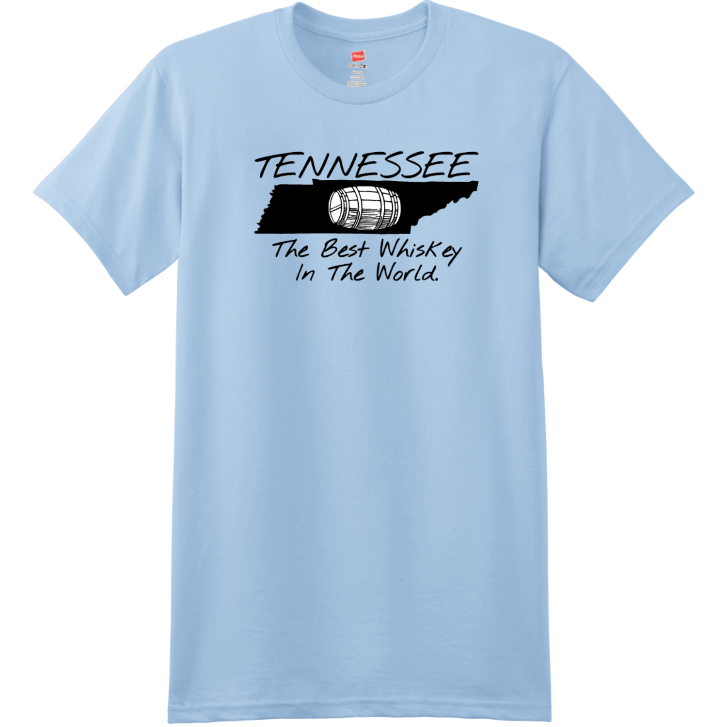 Tennessee Best Whiskey In The World T-Shirt Light Blue Hanes Nano 4980 Ringspun Cotton T Shirt