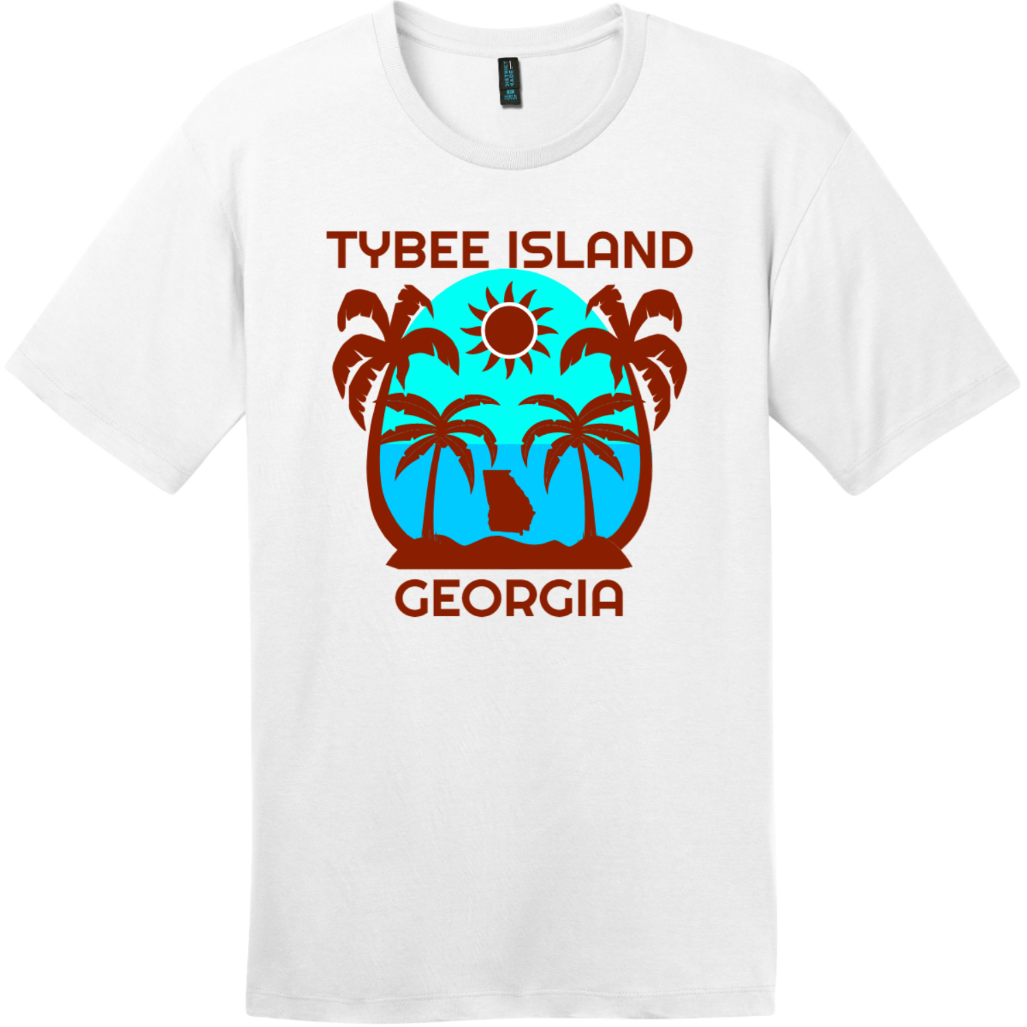 Tybee Island Georgia Palm Tree T-Shirt Bright White District Perfect Weight Tee DT104
