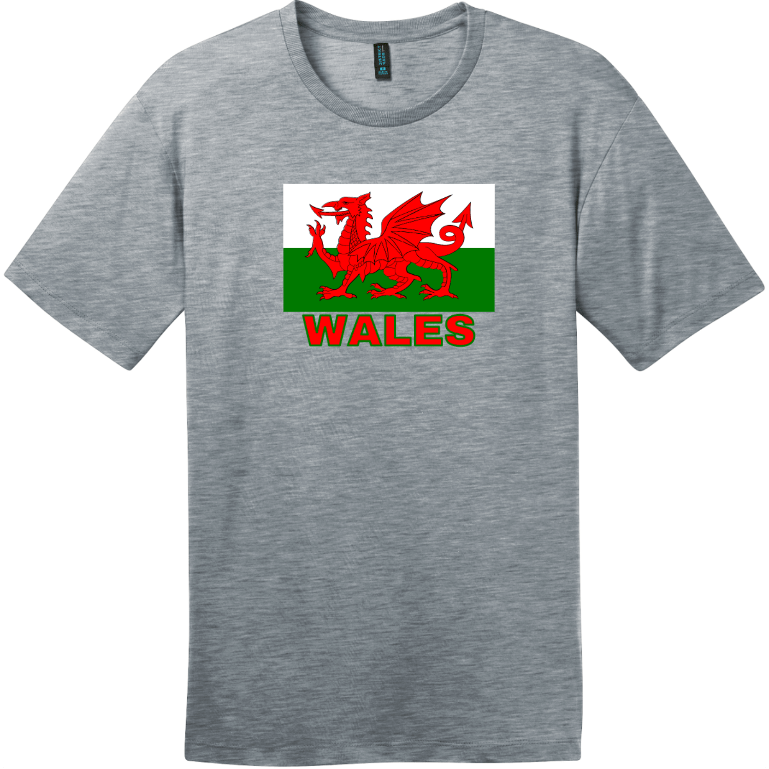Wales Flag T-Shirt Heathered Steel District Perfect Weight Tee DT104