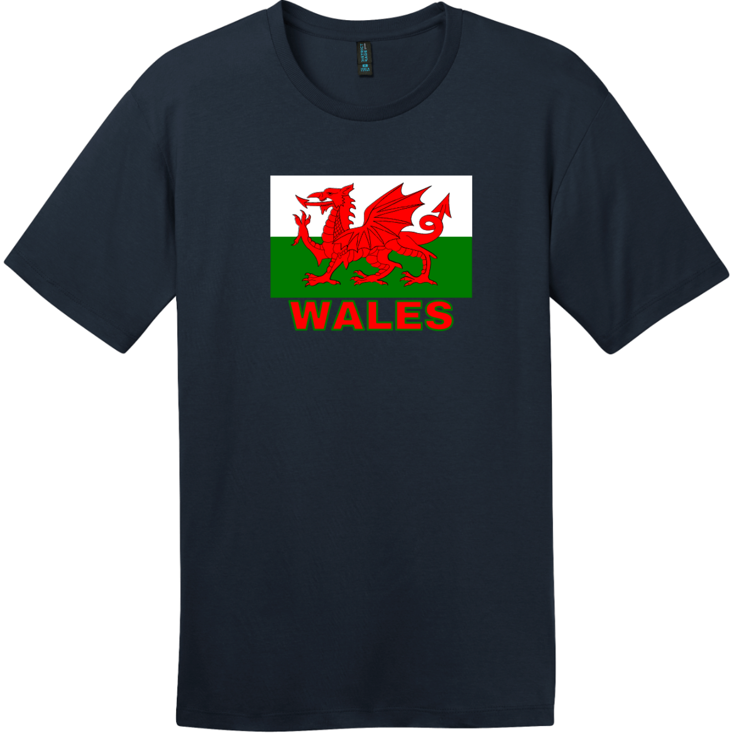 Wales Flag T-Shirt New Navy District Perfect Weight Tee DT104