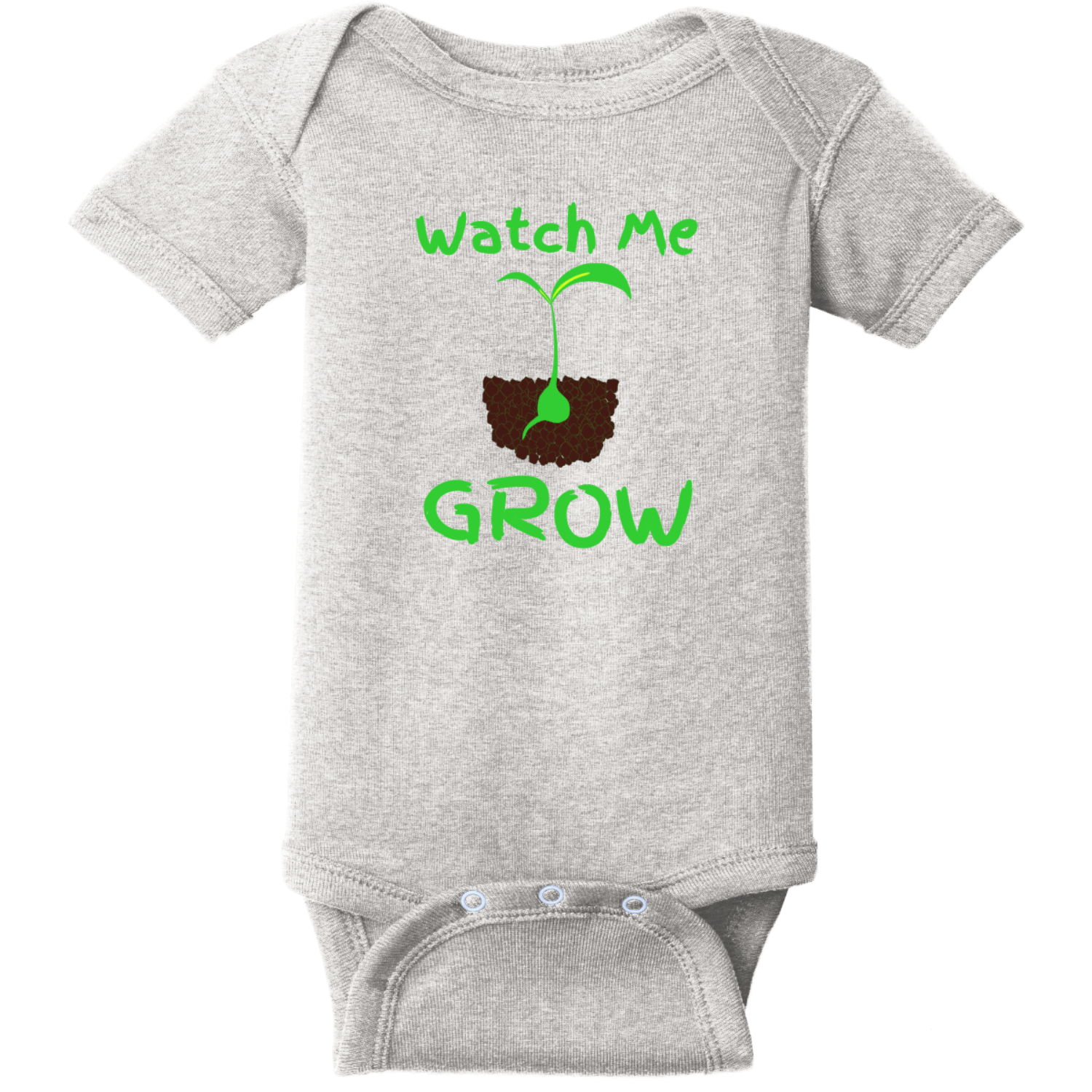 Watch Me Grow Infant Creeper Heather Rabbit Skins Infant Short Sleeve Infant Rib Bodysuit RS4400