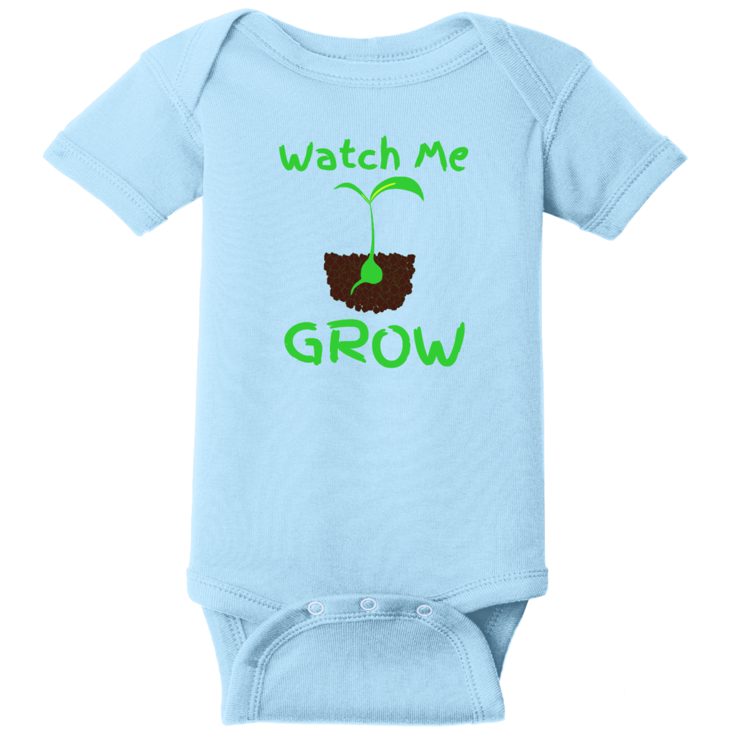 Watch Me Grow Infant Creeper Light Blue Rabbit Skins Infant Short Sleeve Infant Rib Bodysuit RS4400