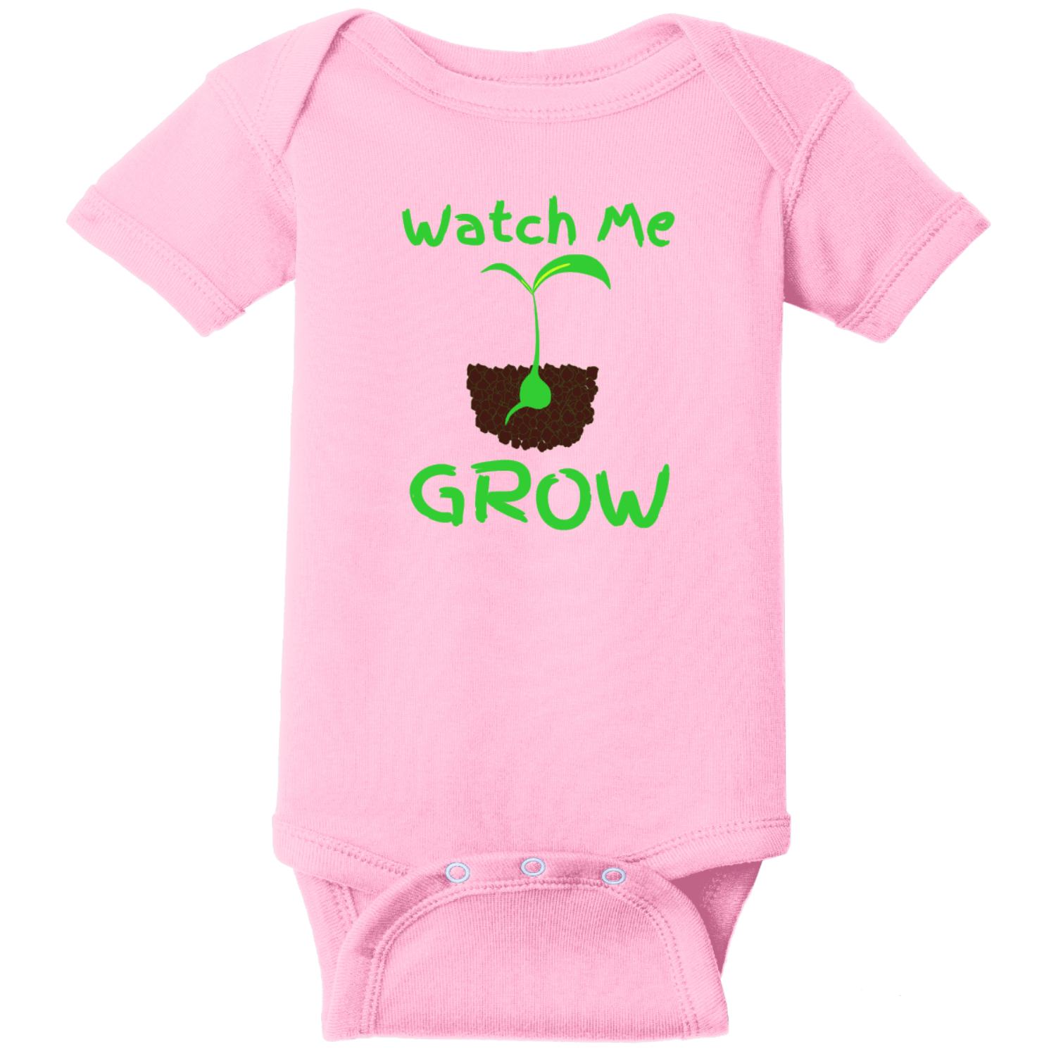 Watch Me Grow Infant Creeper Pink Rabbit Skins Infant Short Sleeve Infant Rib Bodysuit RS4400