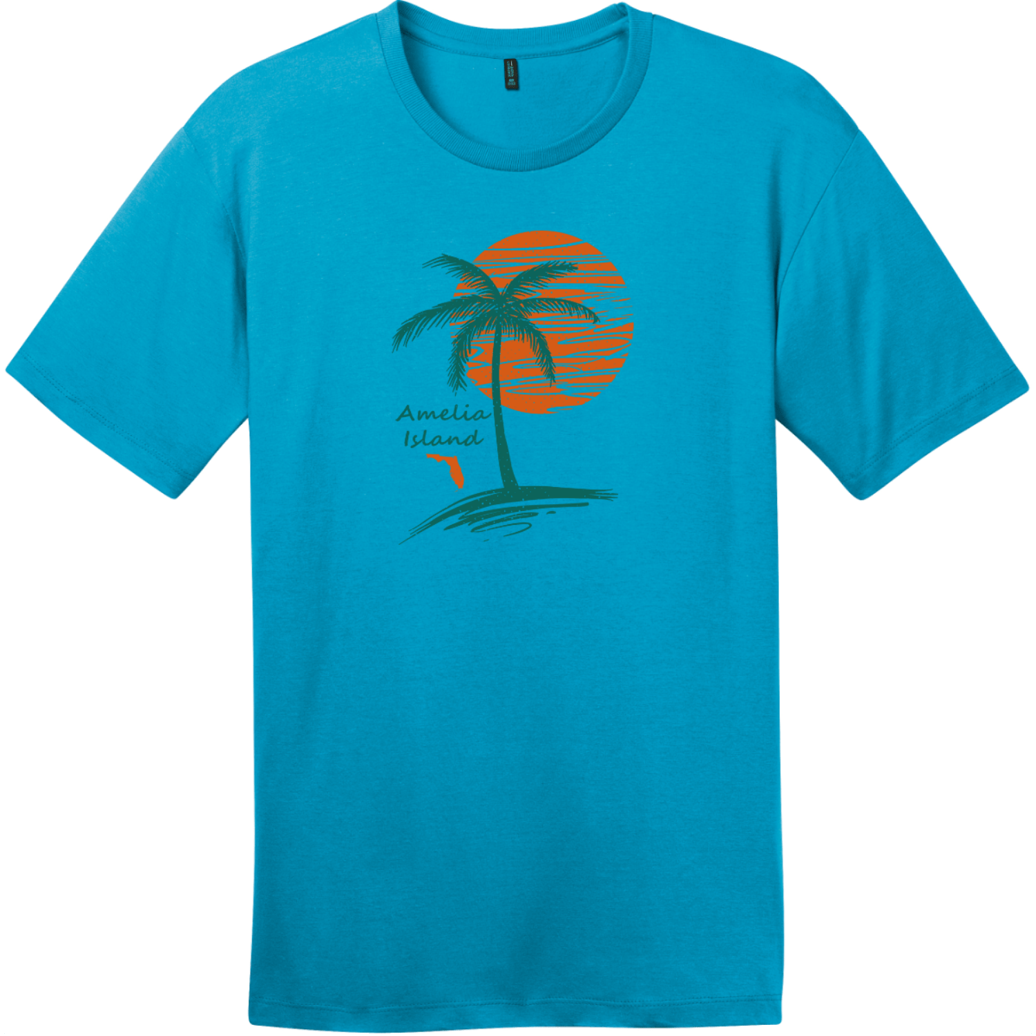 Amelia Island Palm Tree T-Shirt Bright Turquoise District Perfect Weight Tee DT104