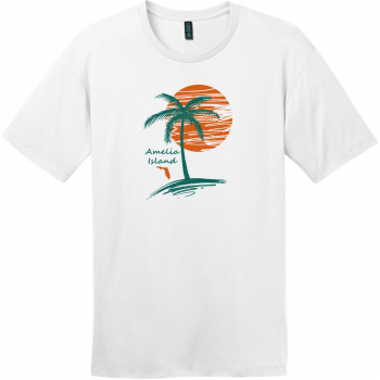 Amelia Island Palm Tree T-Shirt Bright White District Perfect Weight Tee DT104