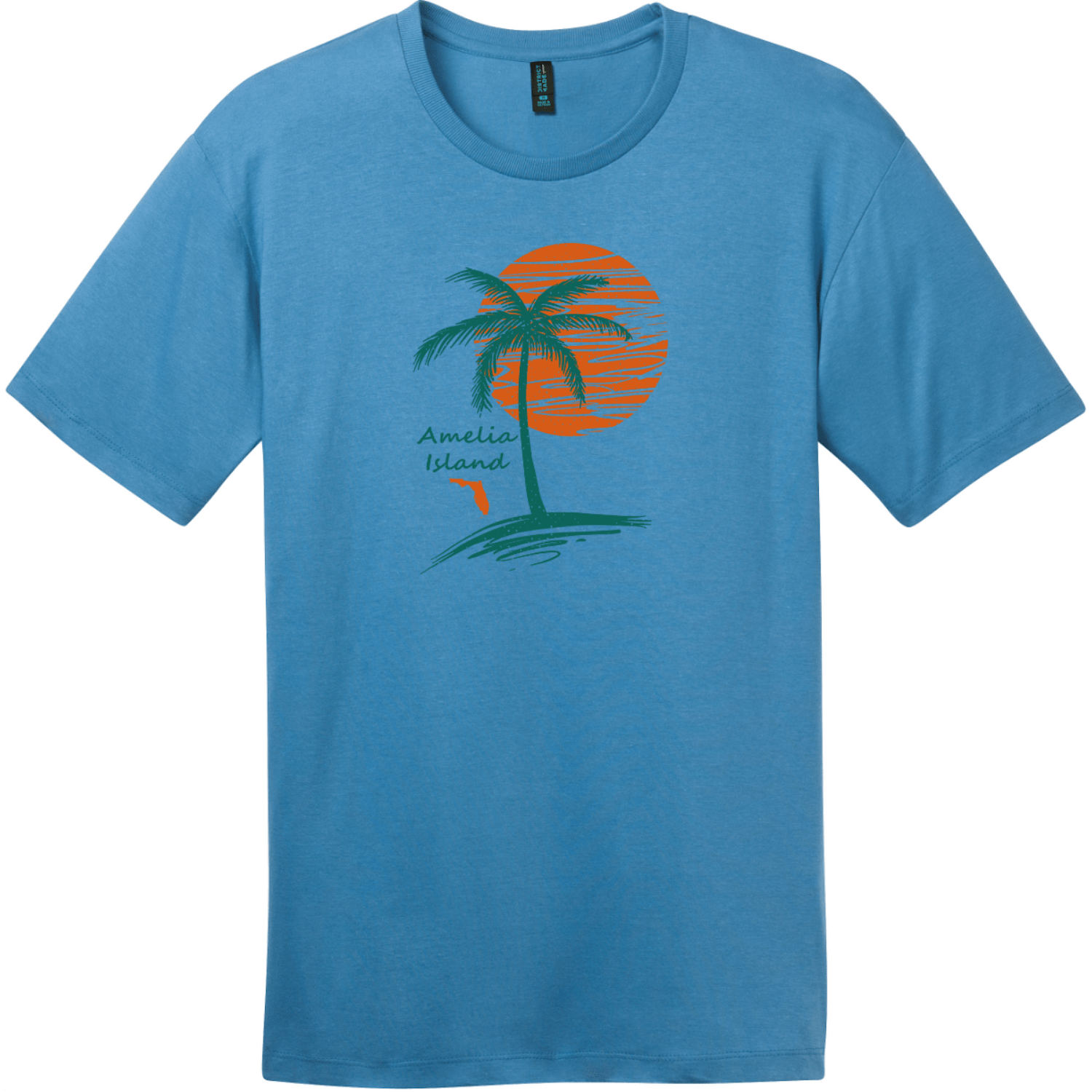 Amelia Island Palm Tree T-Shirt Clean Denim District Perfect Weight Tee DT104
