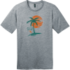 Amelia Island Palm Tree T-Shirt Heathered Steel District Perfect Weight Tee DT104