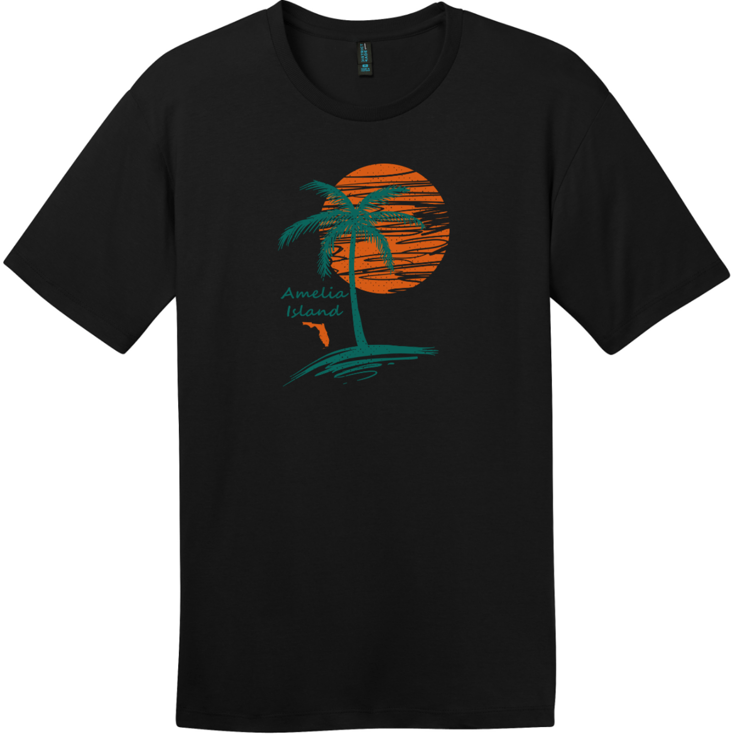 Amelia Island Palm Tree T-Shirt Jet Black District Perfect Weight Tee DT104