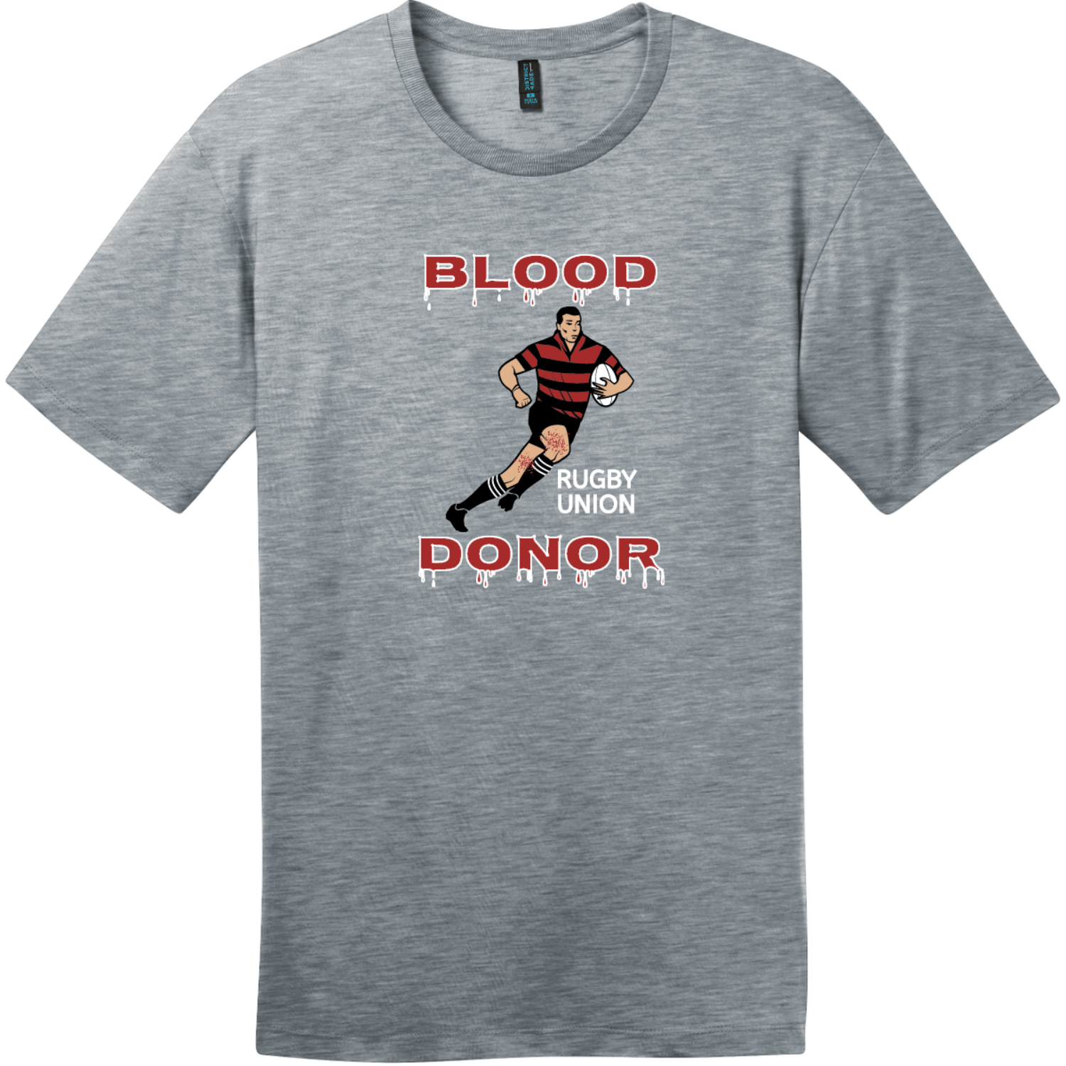 Blood Donor Rugby Union T-Shirt Heathered Steel District Perfect Weight Tee DT104