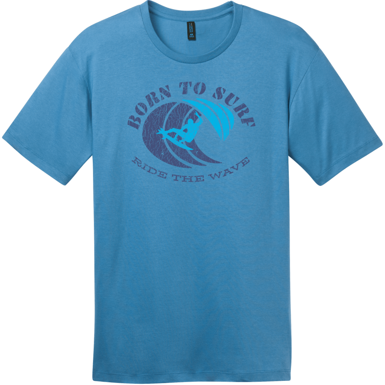 Born To Surf Ride The Wave T-Shirt Clean Denim District Perfect Weight Tee DT104