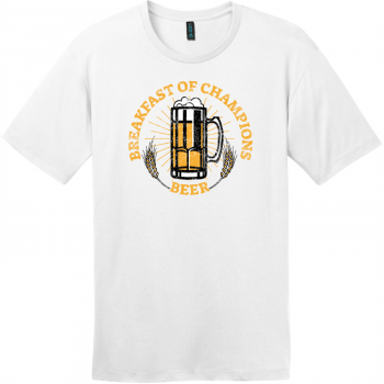 Breakfast Of Champions Beer T-Shirt Bright White District Perfect Weight Tee DT104