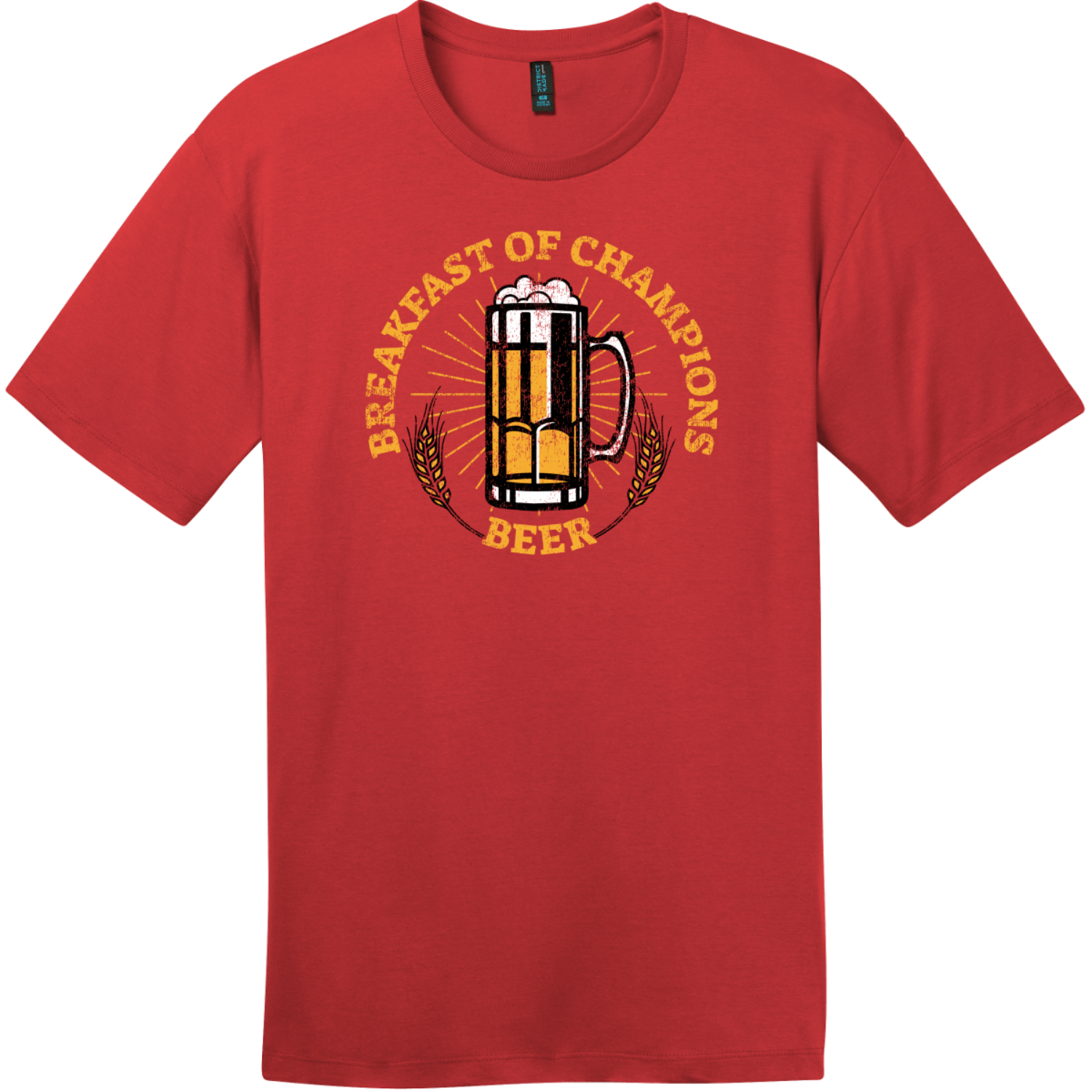 Breakfast Of Champions Beer T-Shirt Classic Red District Perfect Weight Tee DT104