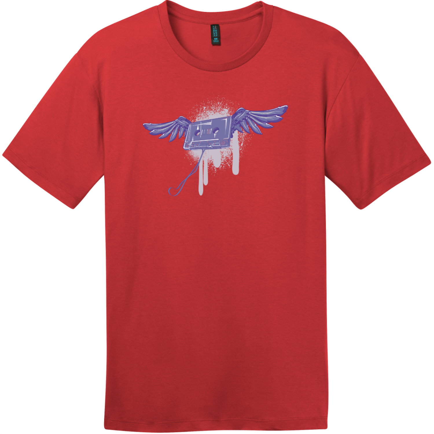 Cassette Tape With Wings Grunge T-Shirt Classic Red District Perfect Weight Tee DT104