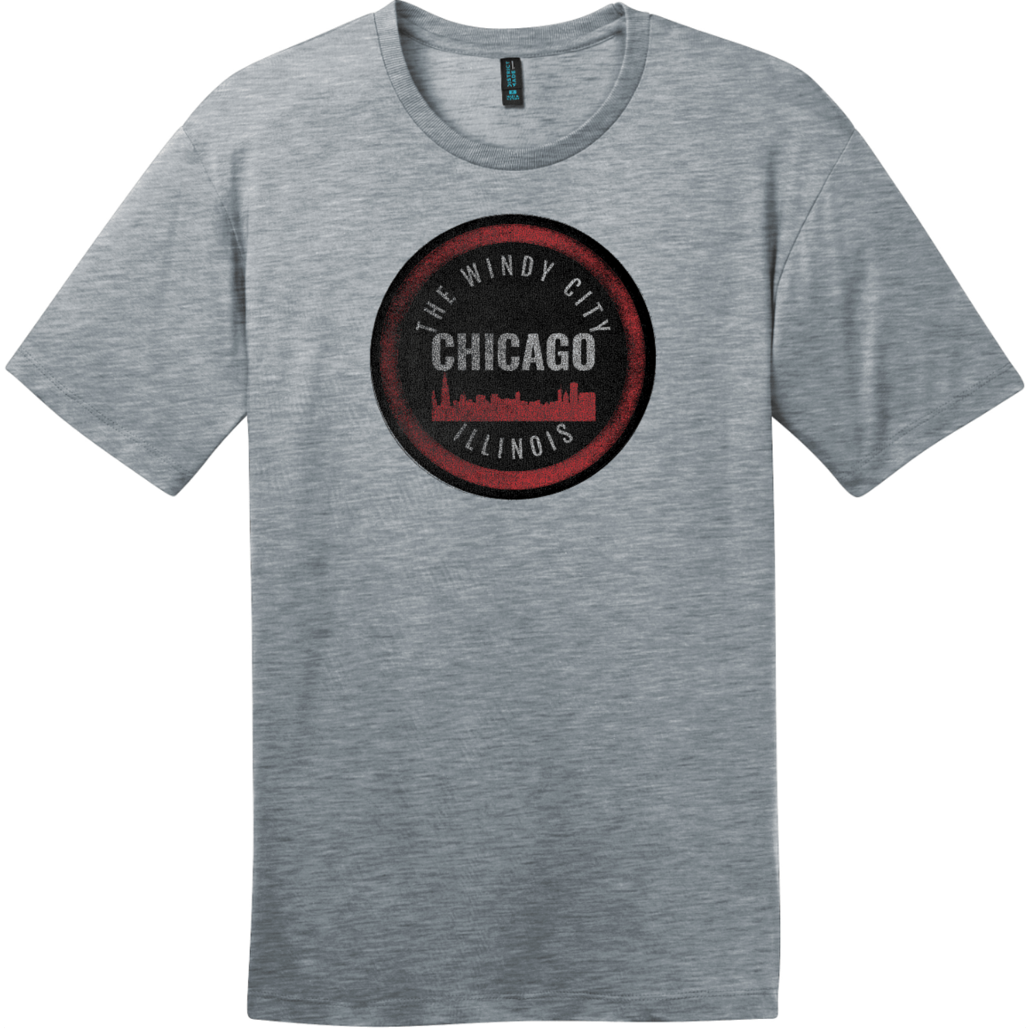 Chicago Illinois The Windy City T-Shirt Heathered Steel District Perfect Weight Tee DT104
