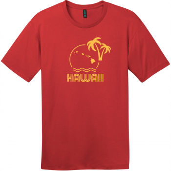 Hawaii Ocean Sun Palm Tree T-Shirt Classic Red District Perfect Weight Tee DT104