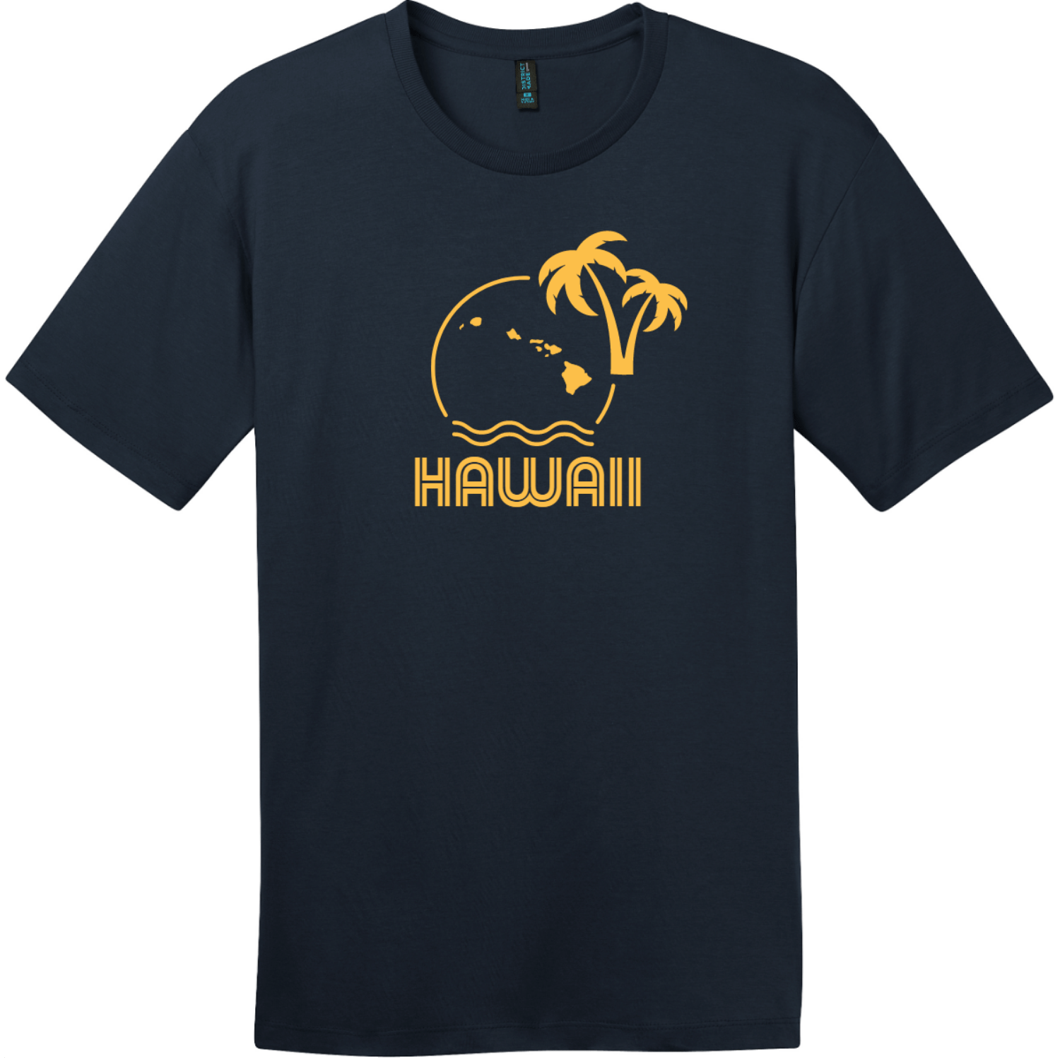 Hawaii Ocean Sun Palm Tree T-Shirt New Navy District Perfect Weight Tee DT104
