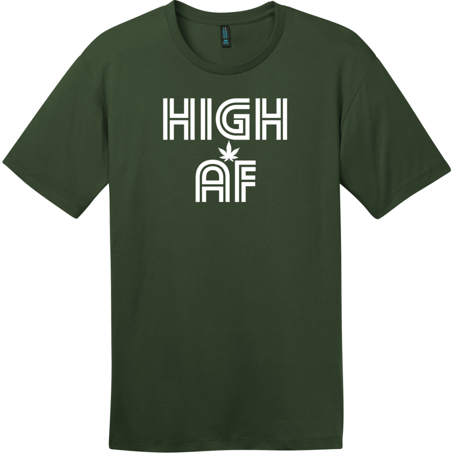 High AF Weed T-Shirt Thyme Green District Perfect Weight Tee DT104