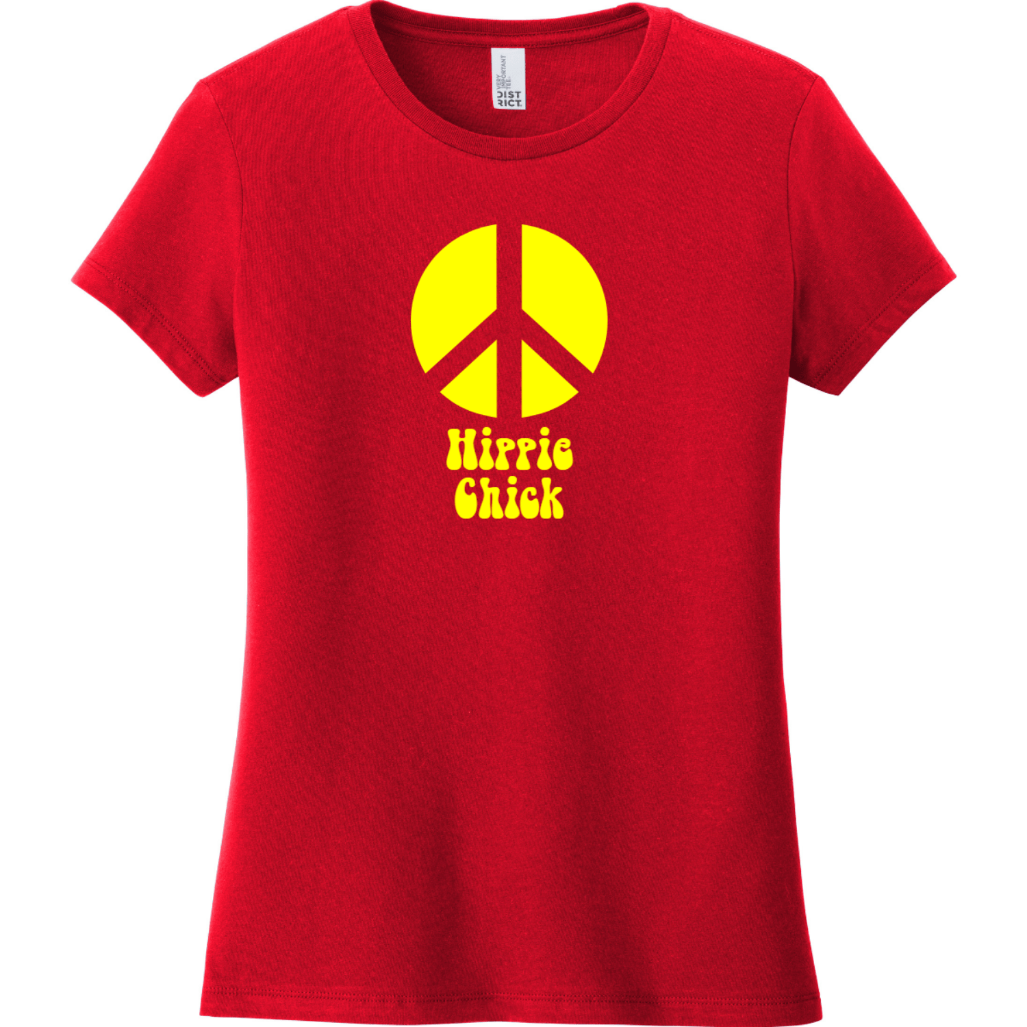 Hippie Chick Peace T-Shirt Classic Red District Women's Very Important Tee DT6002