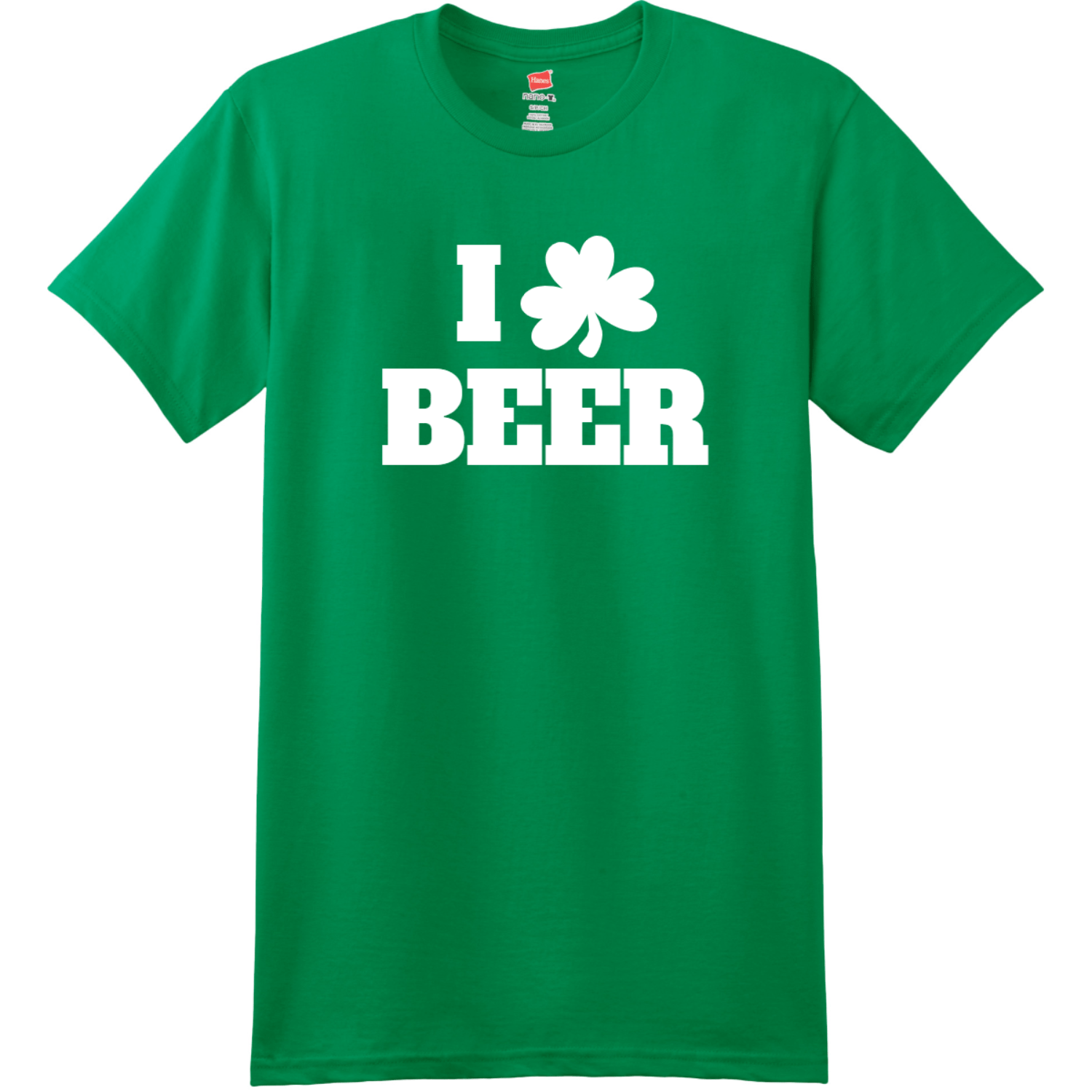 I Love Beer T-Shirt Kelly Green Hanes Nano 4980 Ringspun Cotton T Shirt