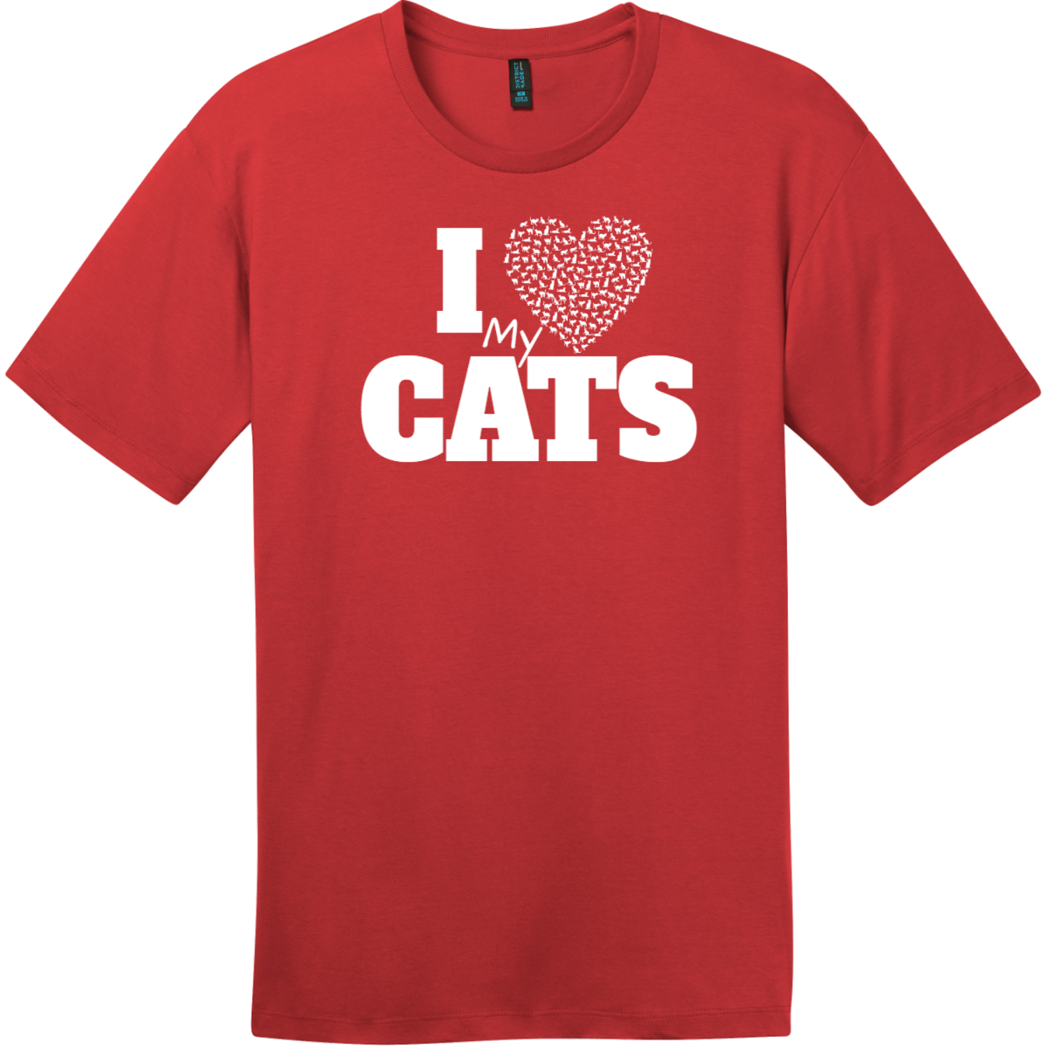 I Love My Cats Heart T-Shirt Classic Red District Perfect Weight Tee DT104