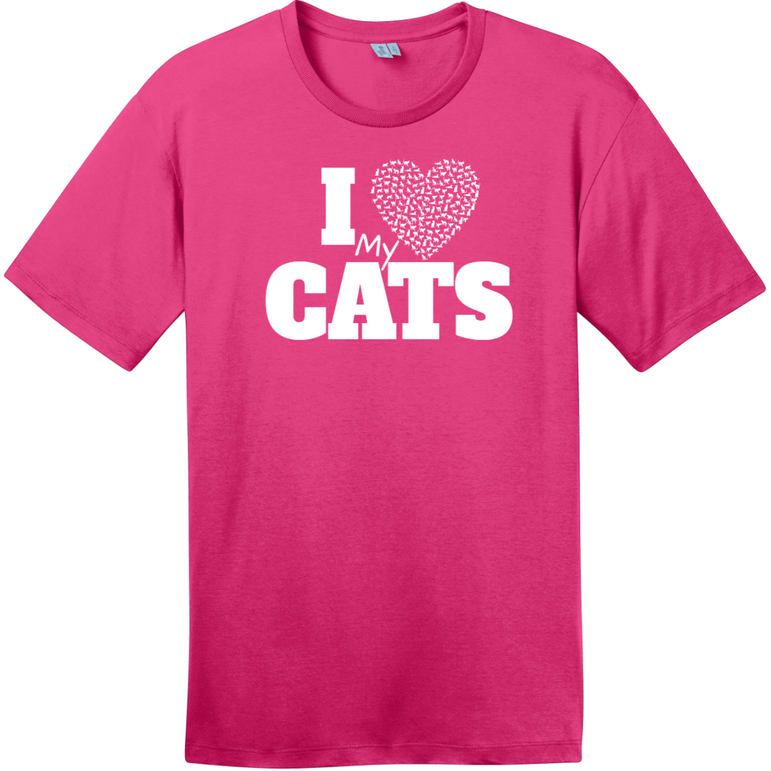 I Love My Cats Heart T-Shirt Dark Fuchsia District Perfect Weight Tee DT104